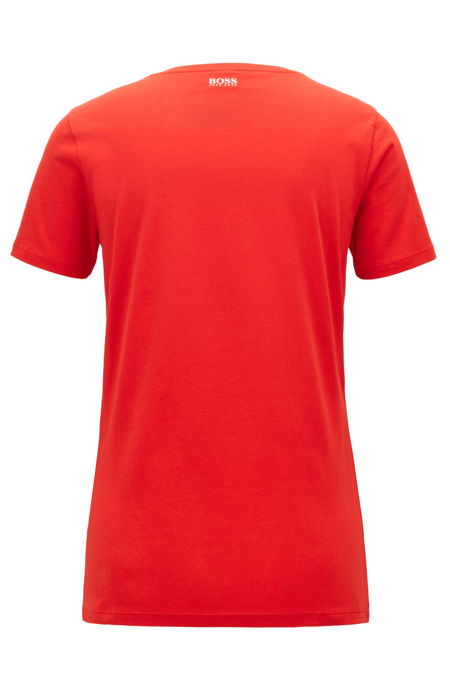 T-shirt Slim Fit en jersey de coton à message imprimé, Rouge