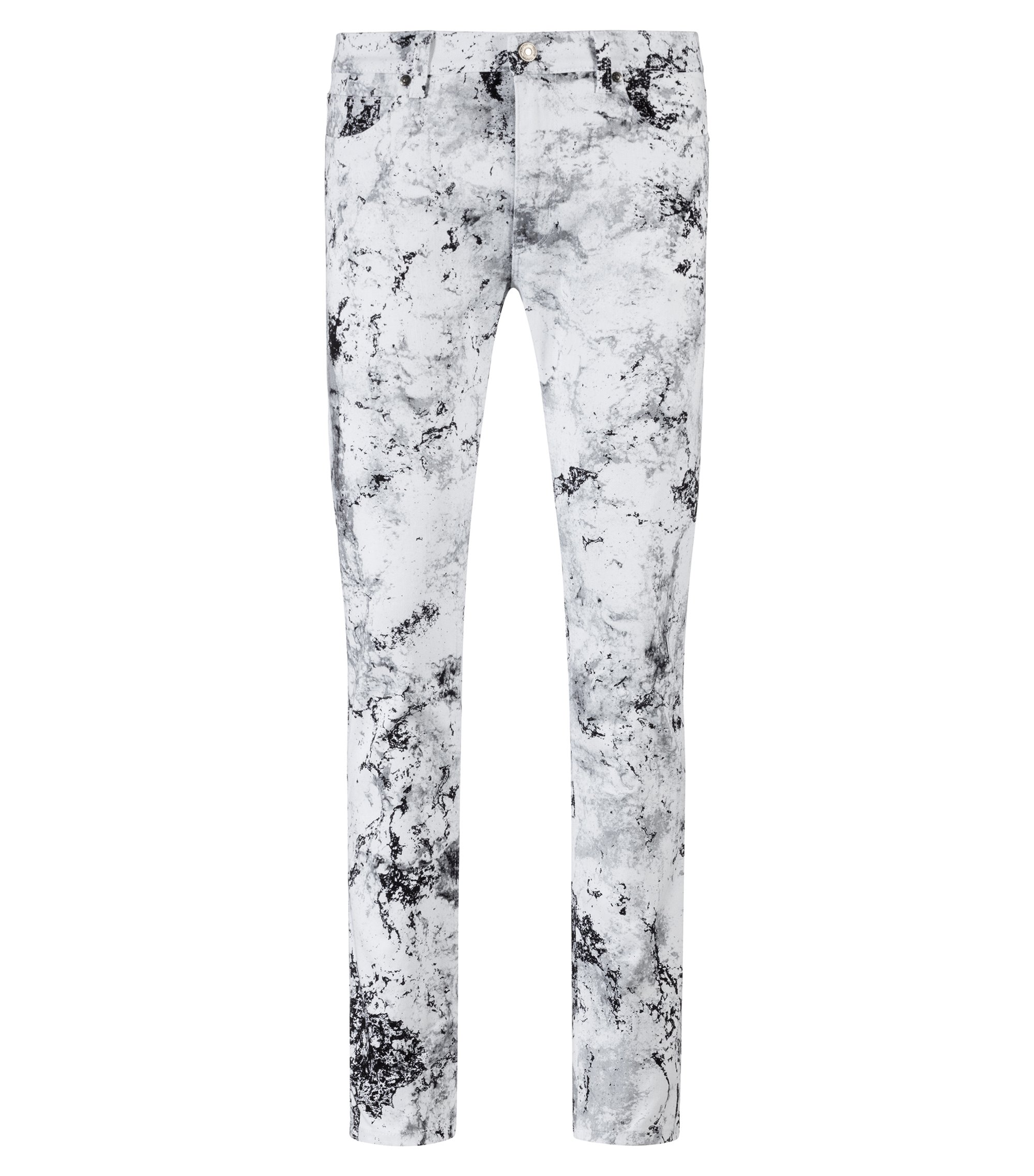 Skinny-fit jeans in stretch denim with collection pattern, Open White