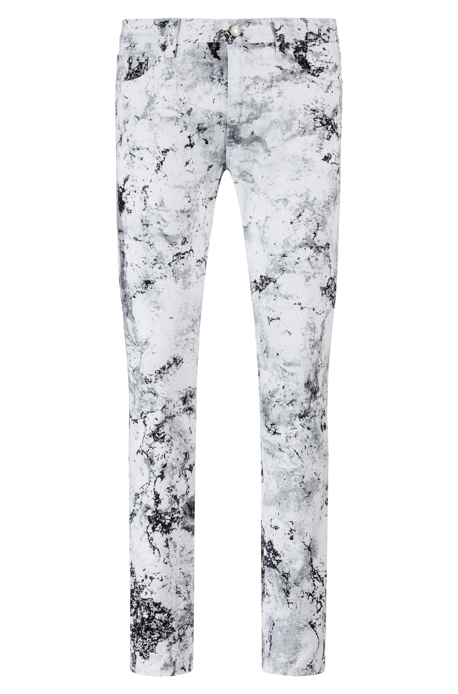 Skinny-fit jeans van stretchdenim met collectiedessin, Wit