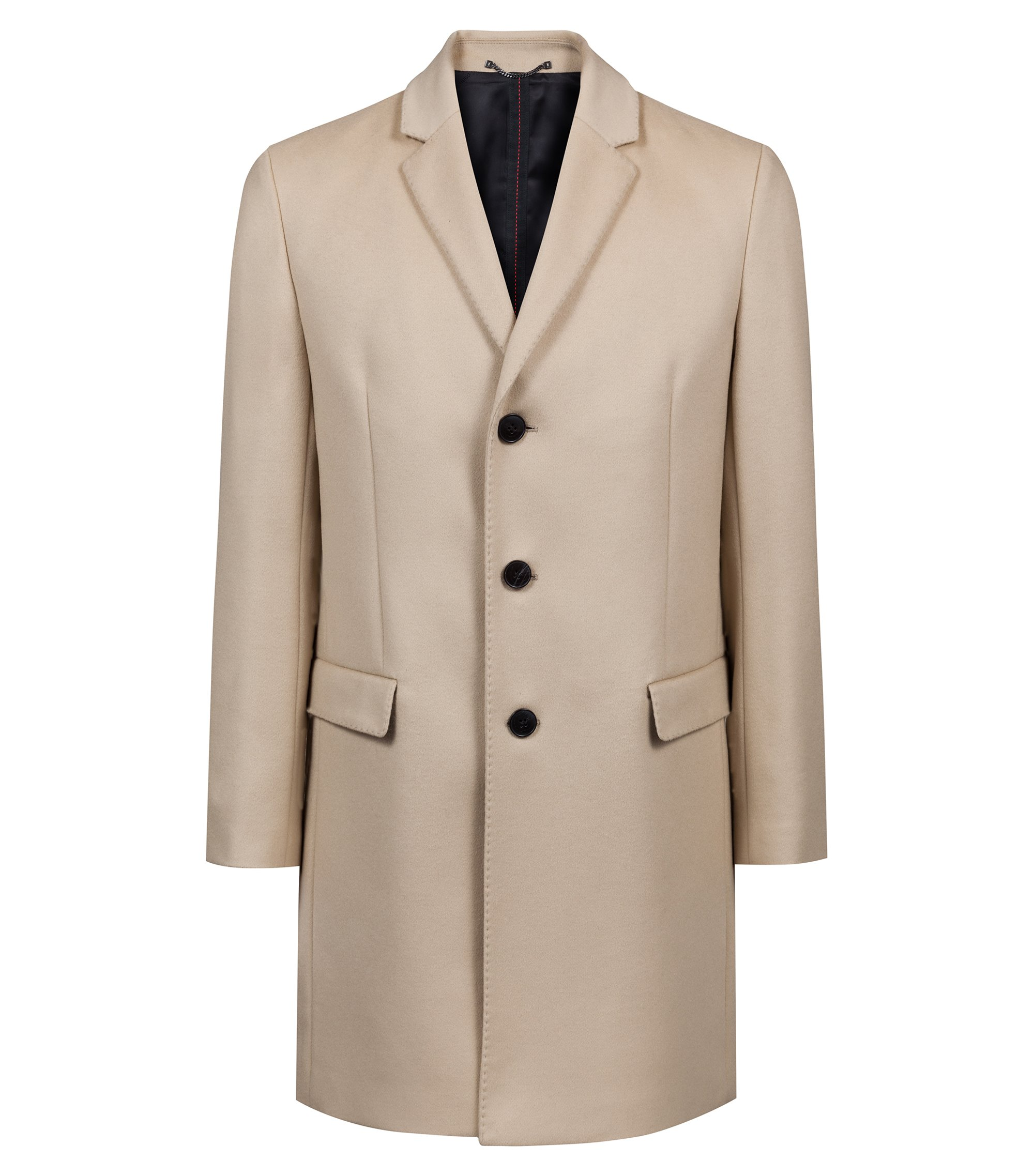 Cappotto slim fit in misto lana con cashmere, Beige