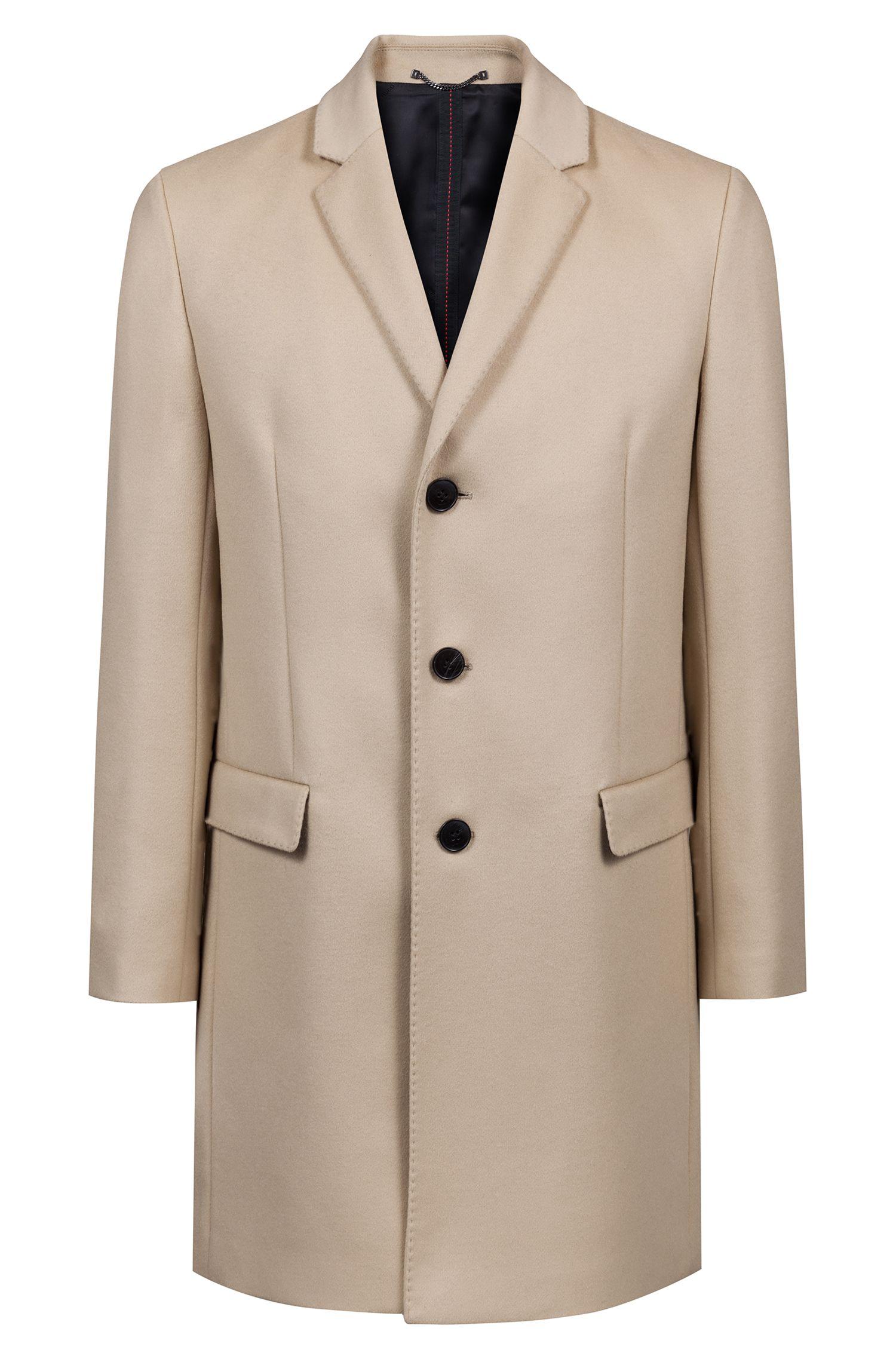 Slim-fit mantel van een mix van wol en kasjmier, Beige