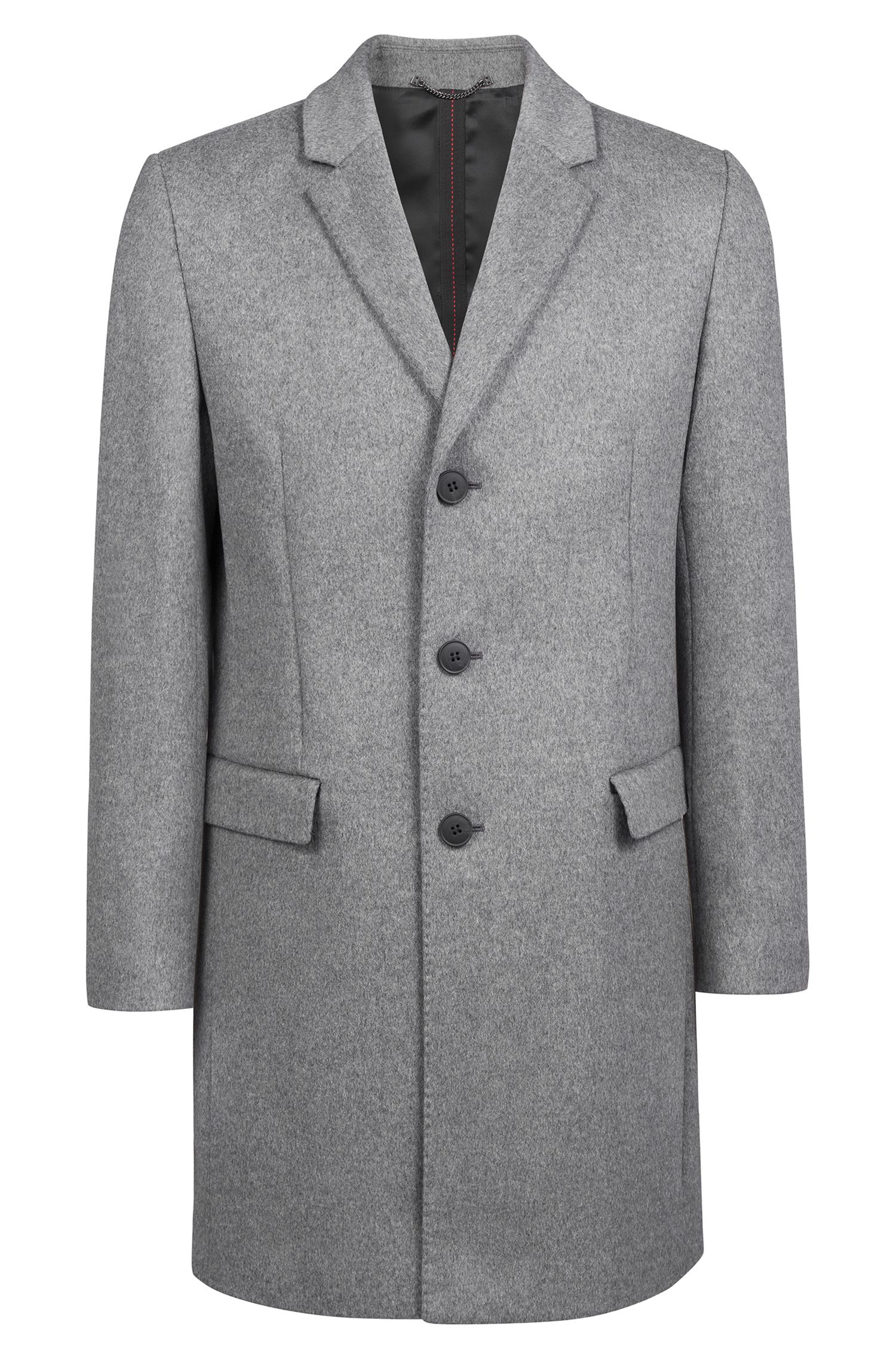 Manteau Slim Fit en laine vierge chinée avec du cachemire, Gris