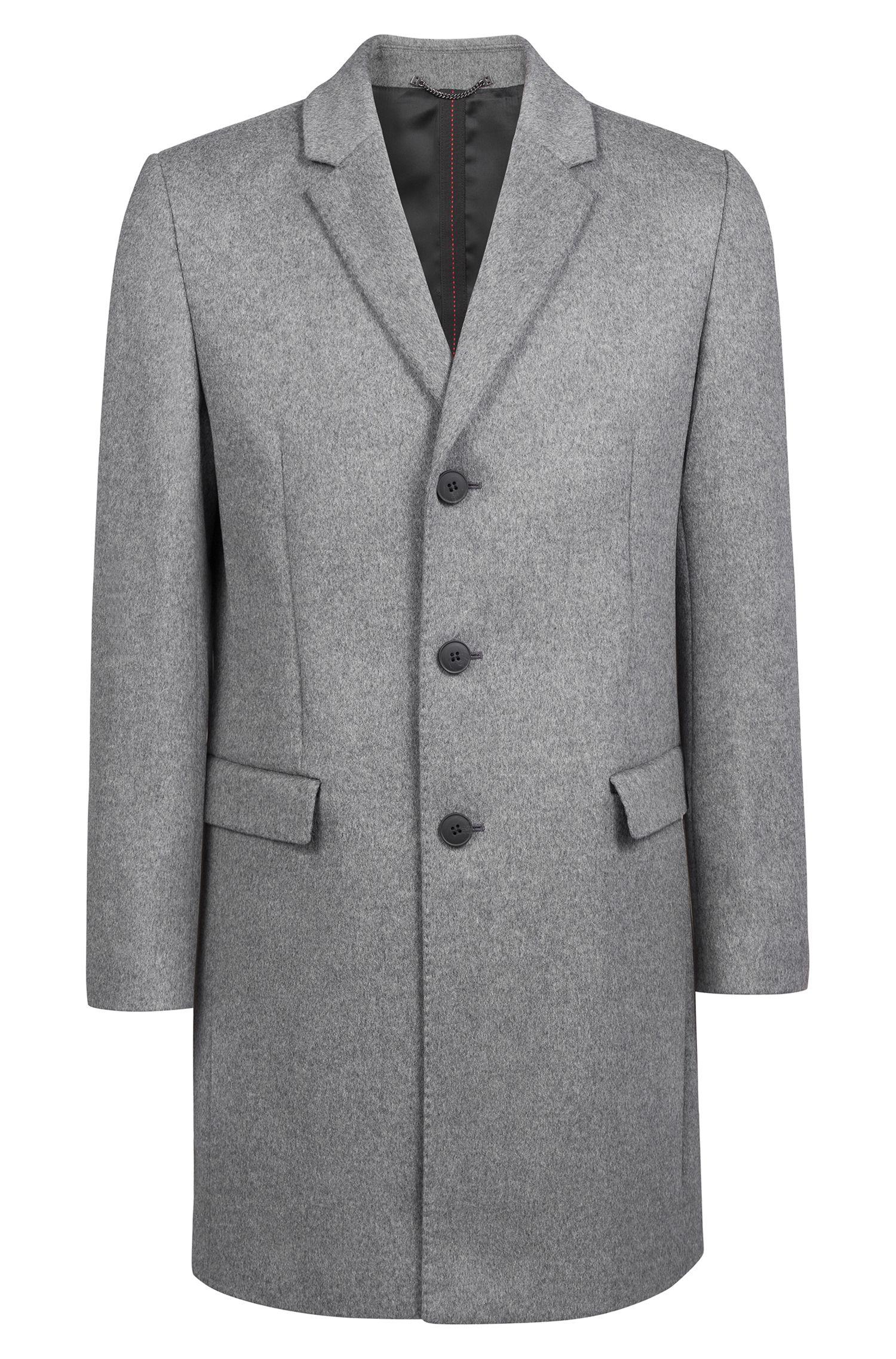 Slim-fit coat in melange virgin wool with cashmere, Grey