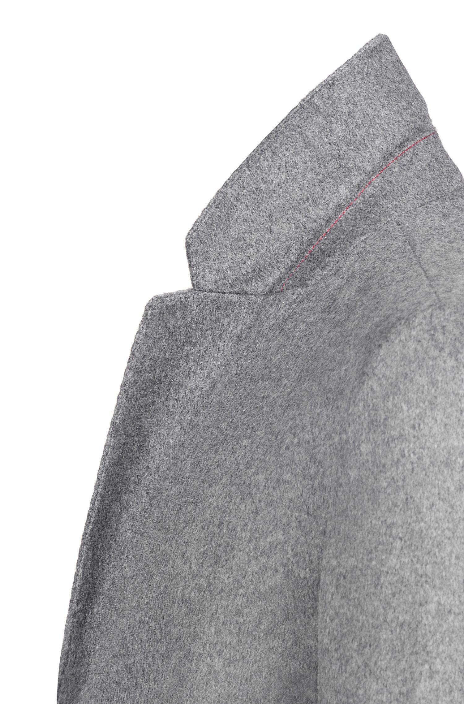 Abrigo slim fit en lana virgen jaspeada con cachemira, Gris