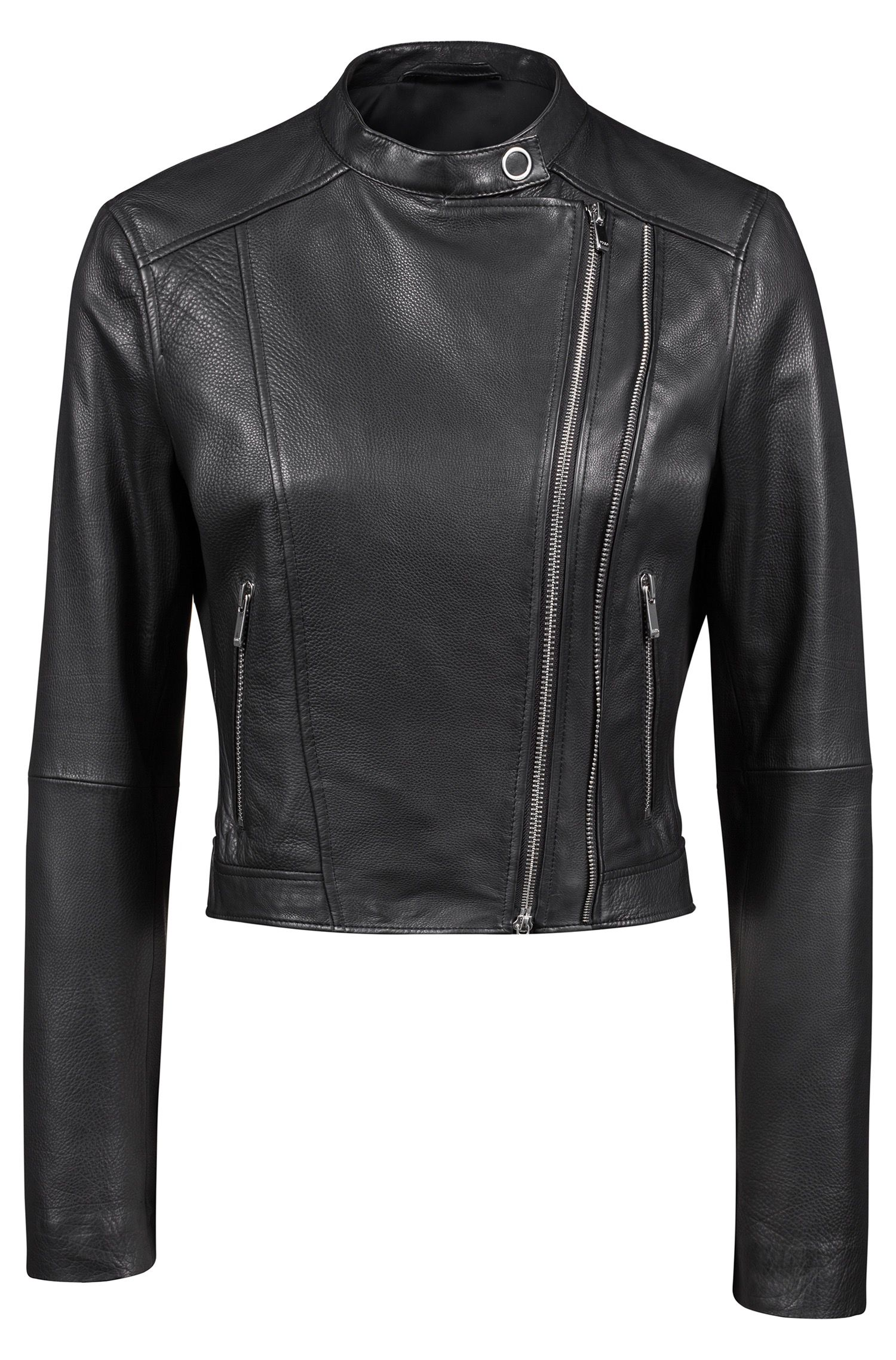 Biker jacket in grainy leather with asymmetric zip, Black
