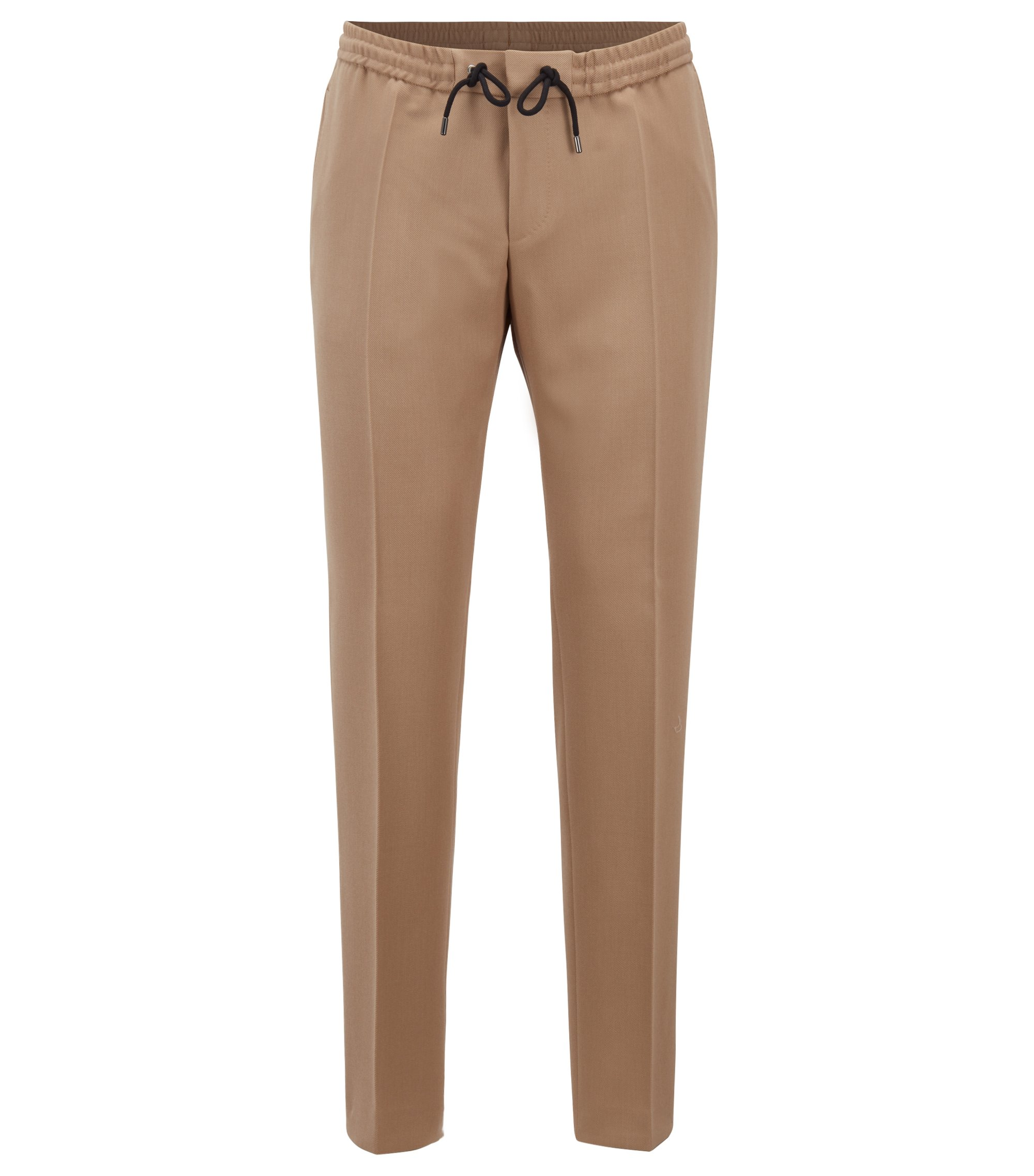 Slim-fit trousers in virgin wool, Beige