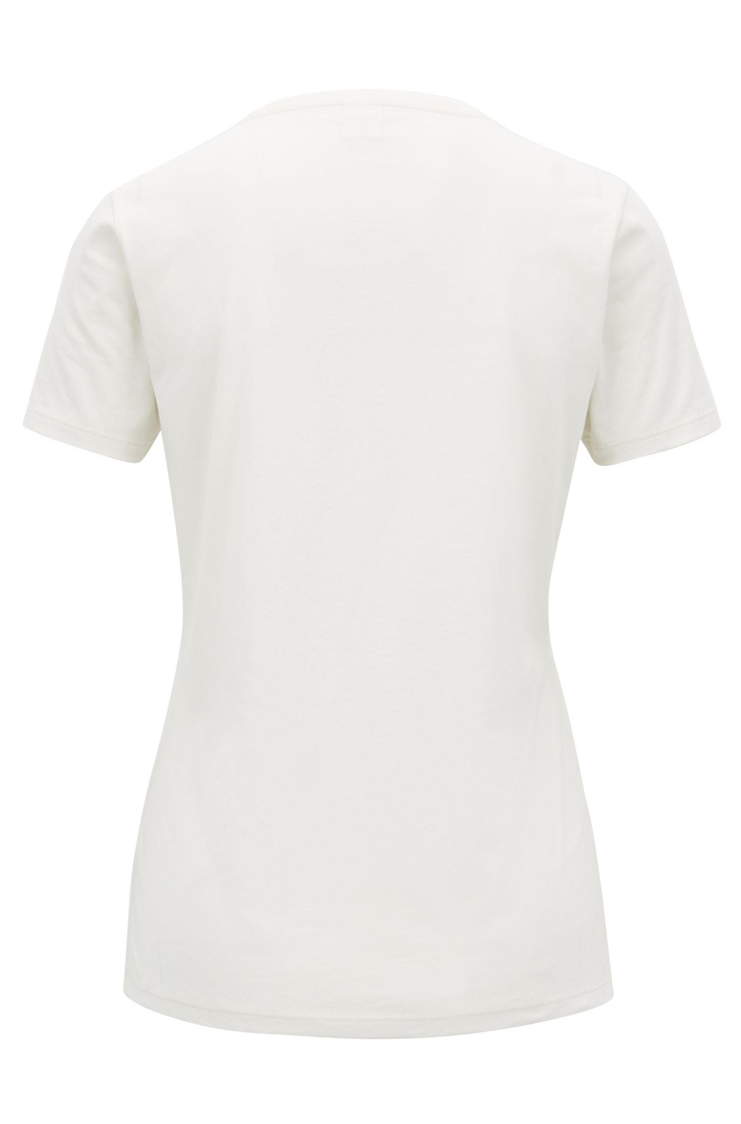 Camiseta slim fit con logo estampado con motivo de corazones, Natural