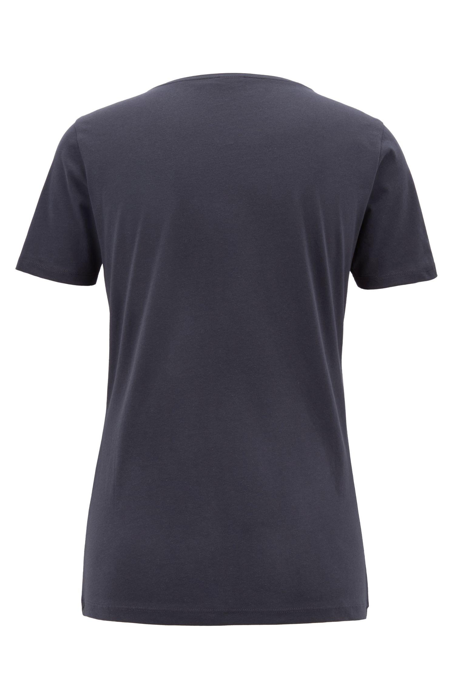 Slim-Fit T-Shirt aus reiner Baumwolle mit Logo-Print aus kleinen Herz-Motiven, Dunkelblau