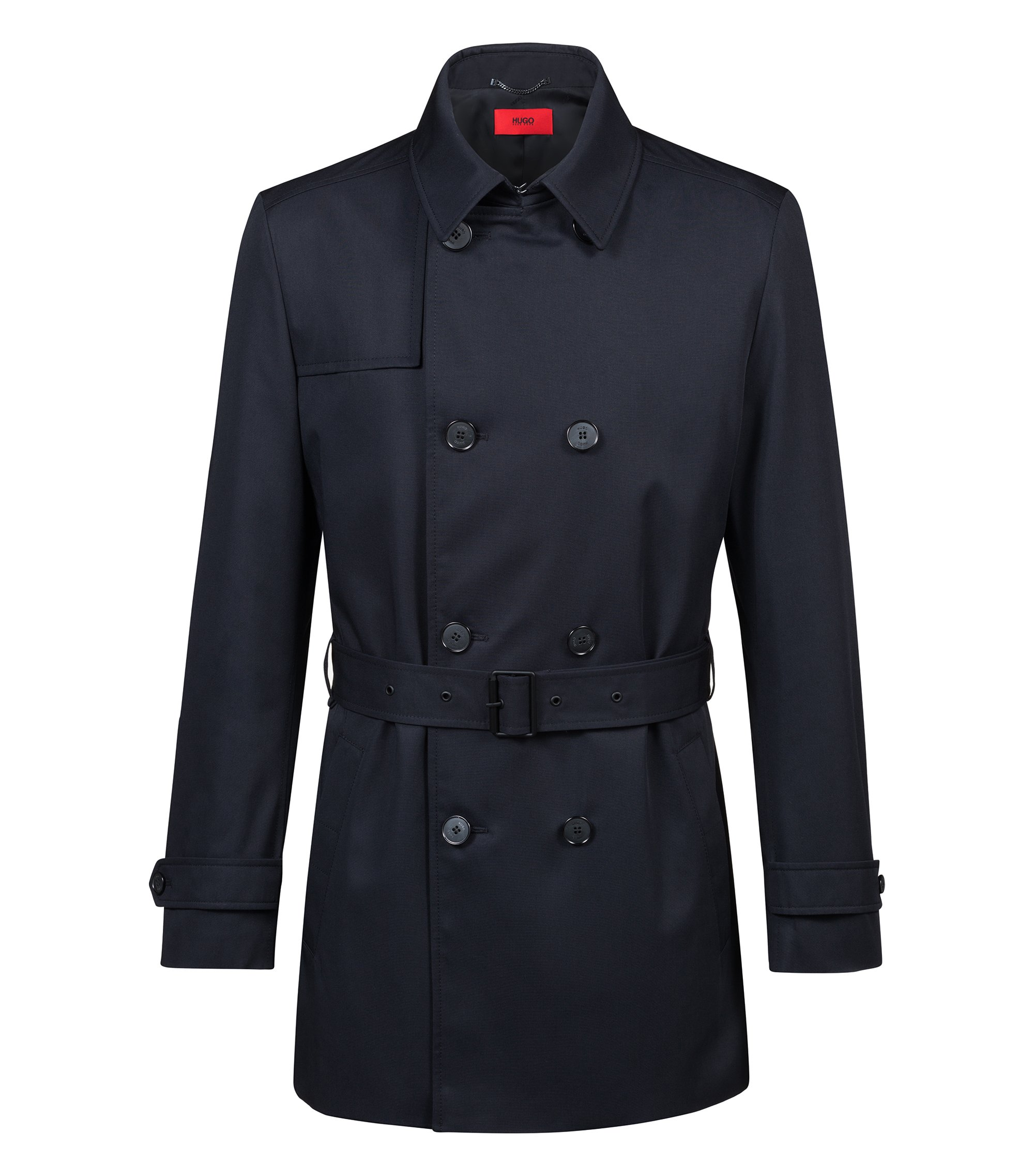 Trench-coat Slim Fit en tissu technique imperméable, Noir