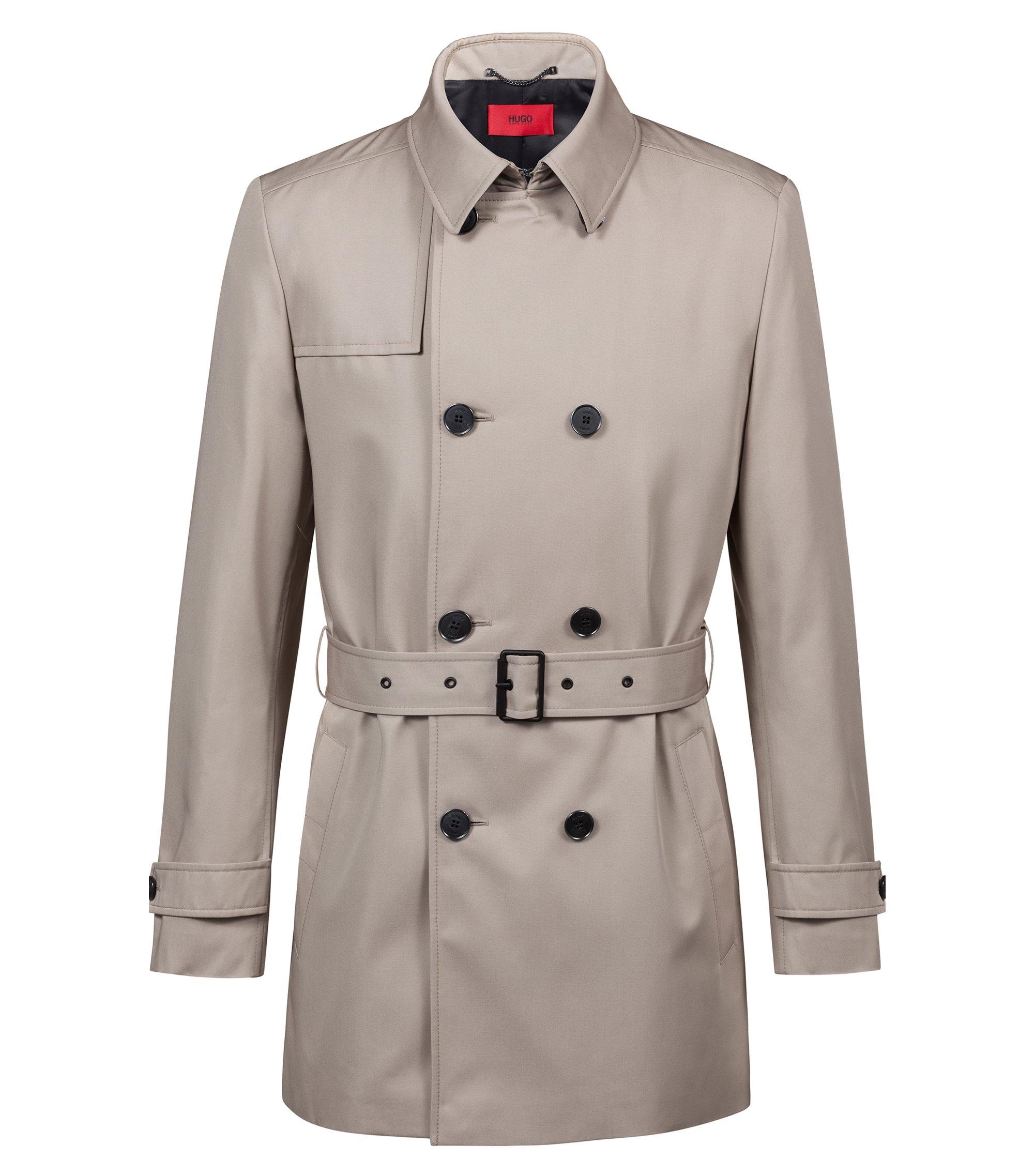 Slim-fit trenchcoat in water-repellent technical fabric, Beige
