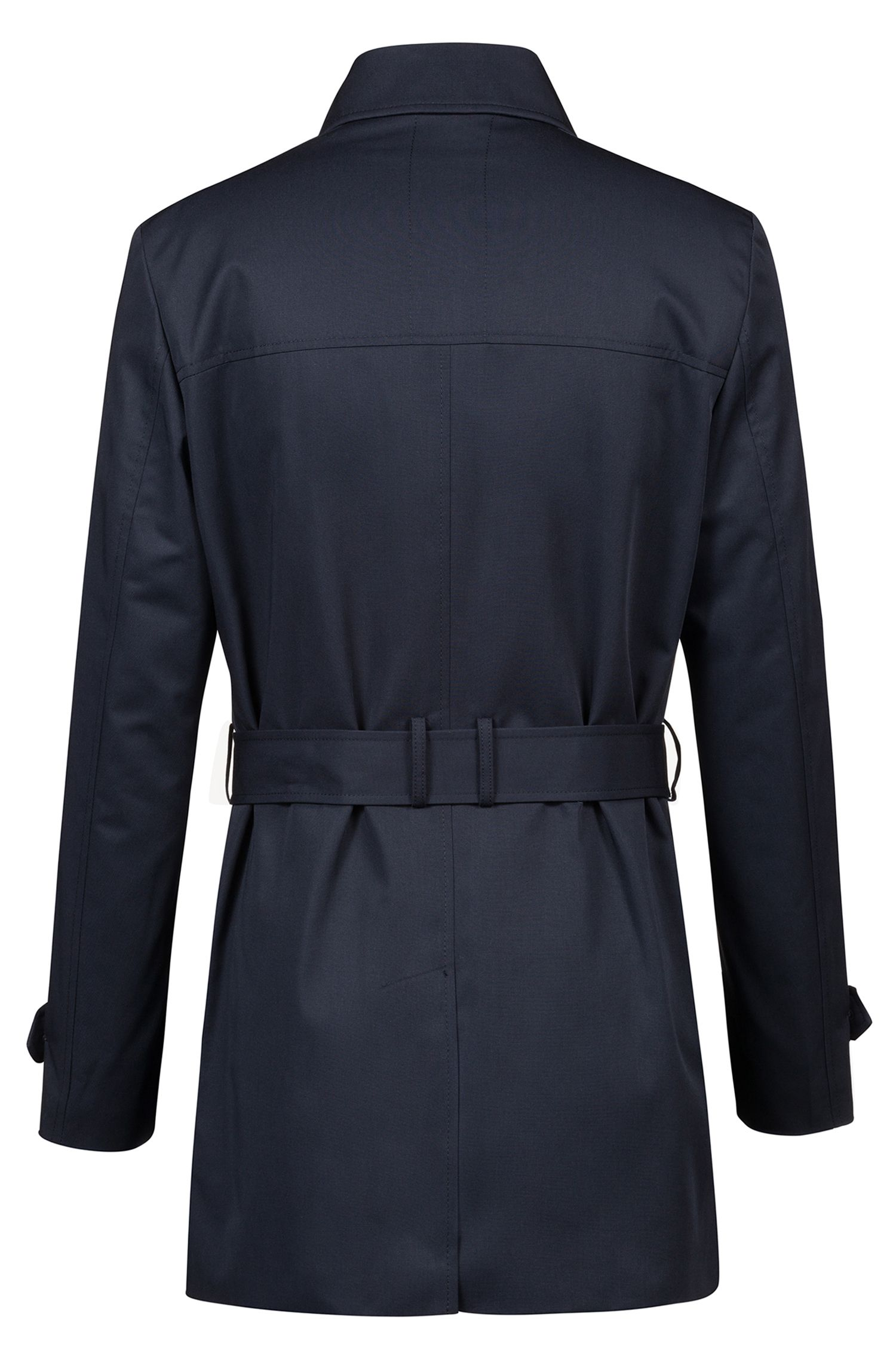 Trench-coat Slim Fit en tissu technique imperméable, Bleu foncé