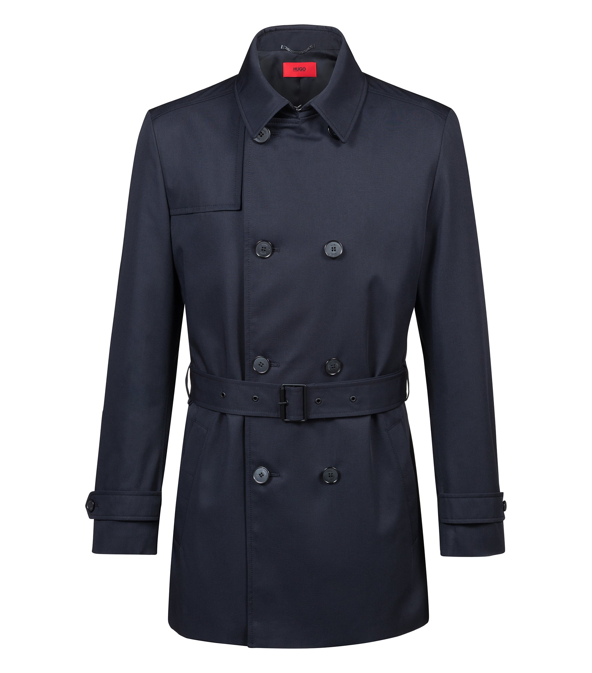 Slim-fit trenchcoat in water-repellent technical fabric, Dark Blue