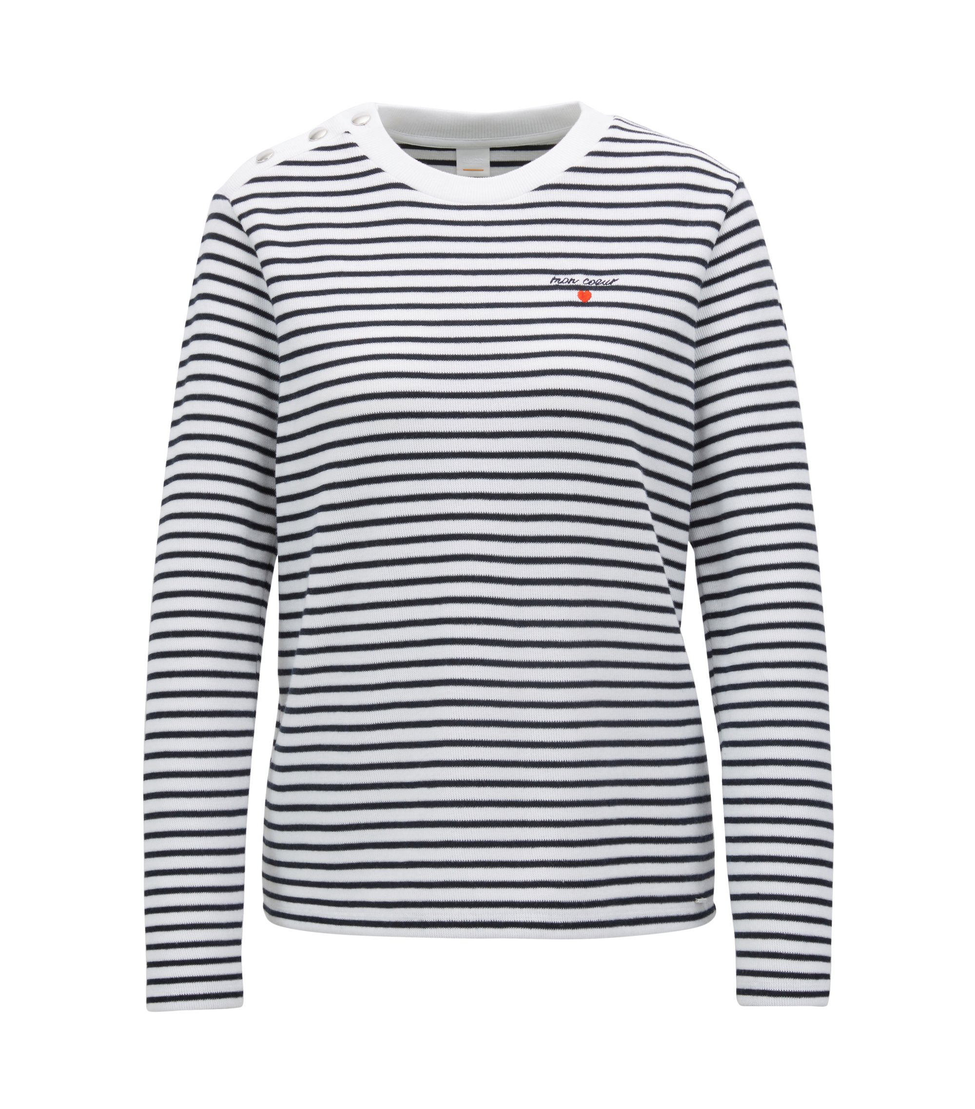 Long-sleeved striped T-shirt with slogan embroidery, Patterned