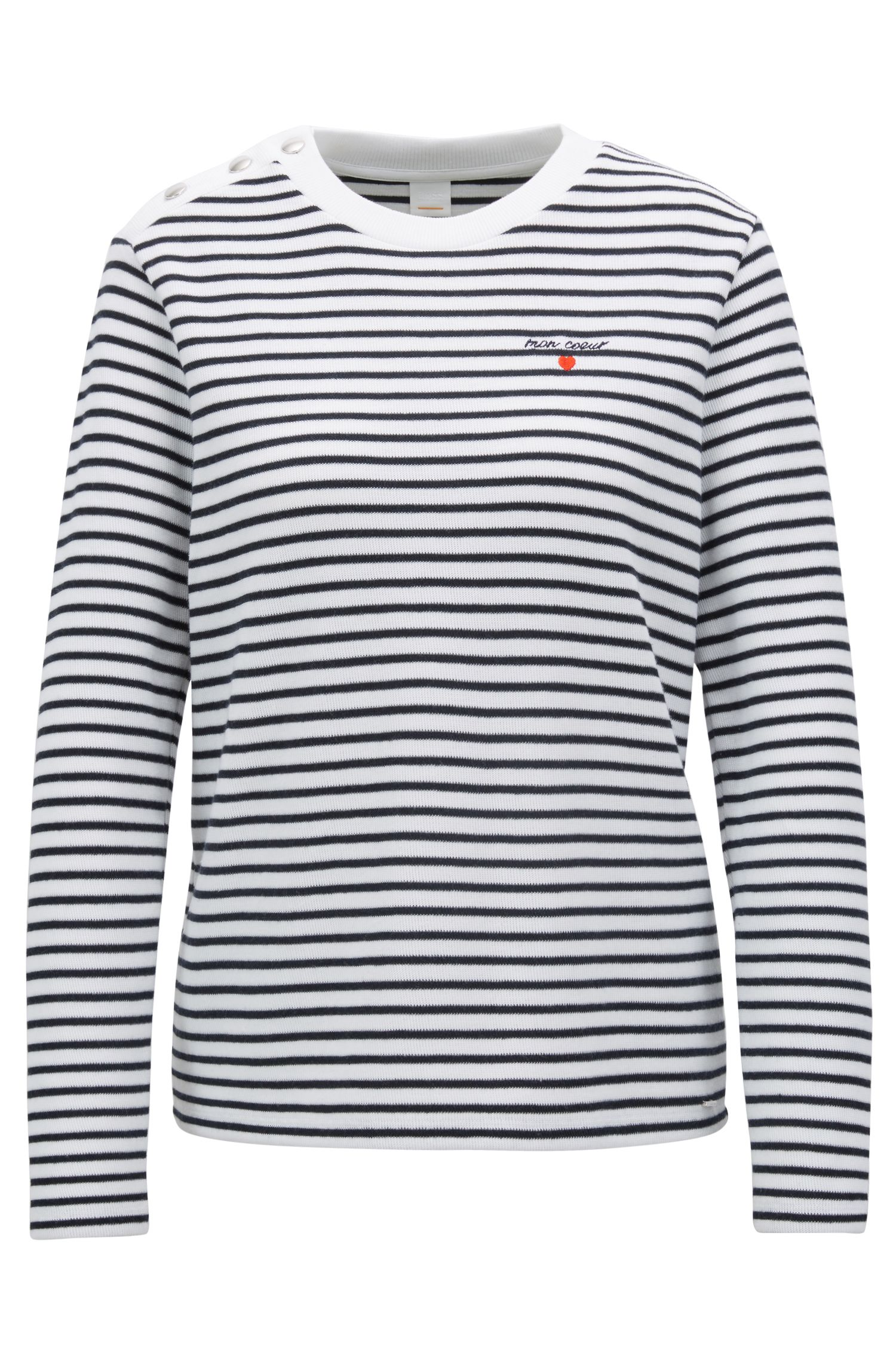Long-sleeved striped T-shirt with slogan embroidery