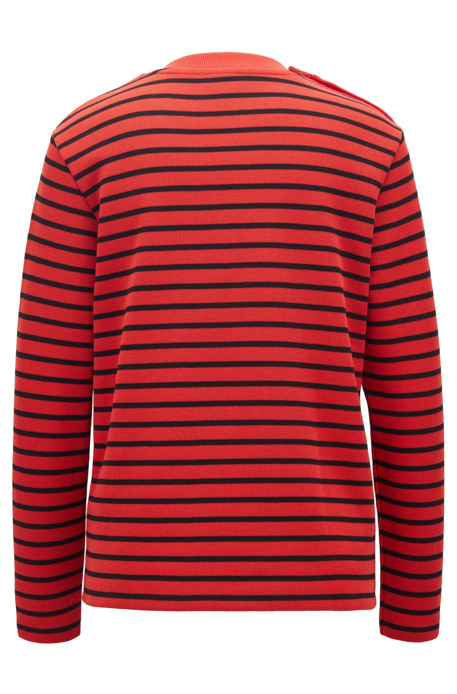 T-shirt a maniche lunghe a righe con slogan ricamato, Rosso