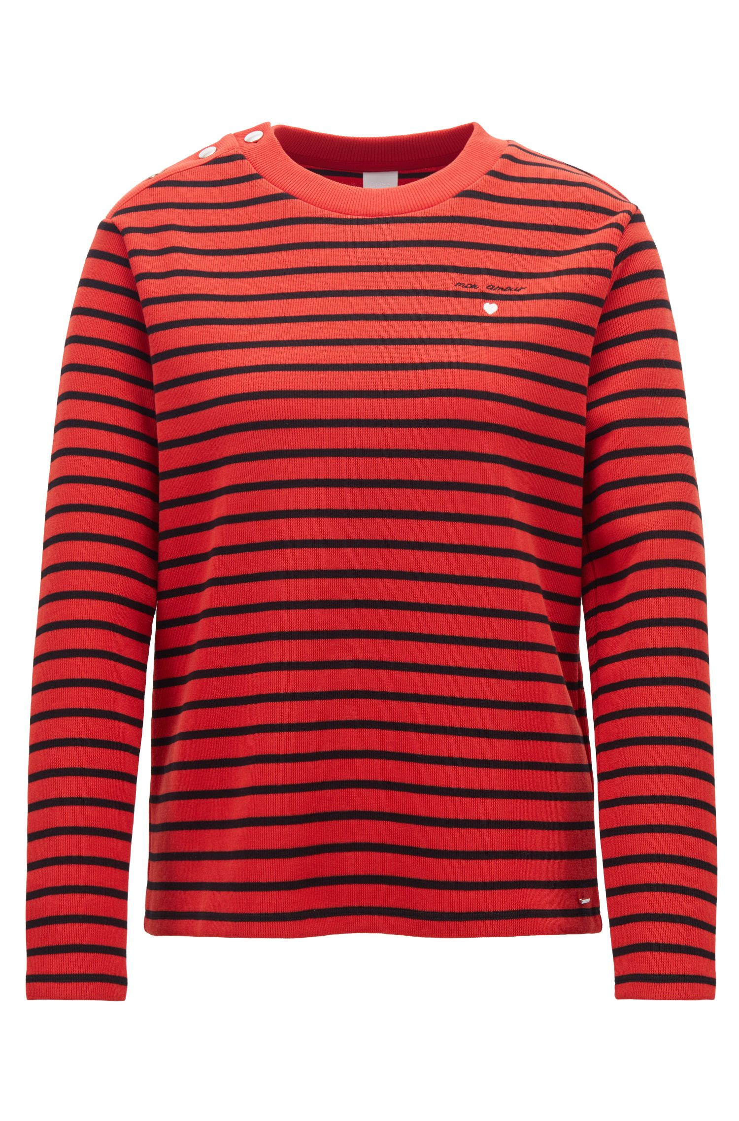 Long-sleeved striped T-shirt with slogan embroidery, Red