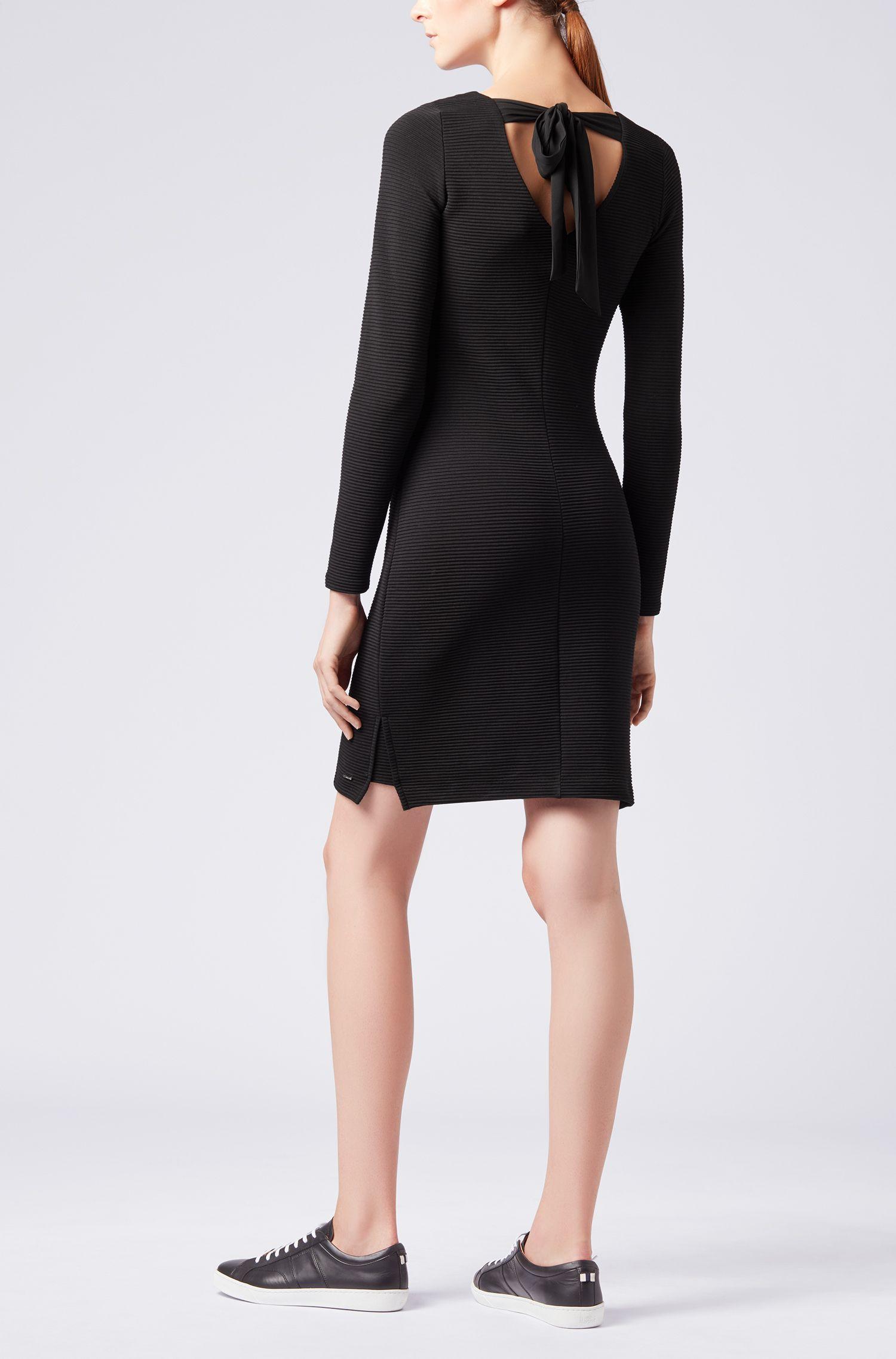 Bodycon-Kleid aus Ottoman-Jersey mit Schleife auf der Rückseite, Schwarz