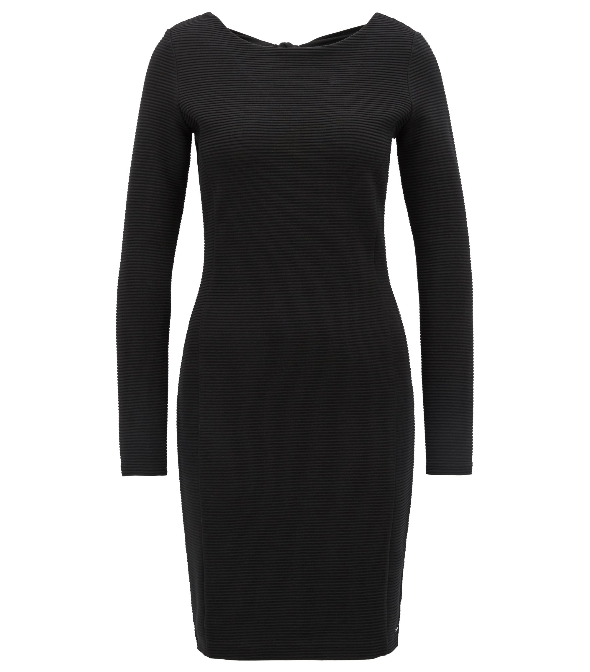 Bodycon dress in ottoman jersey with bow-detail back, Black