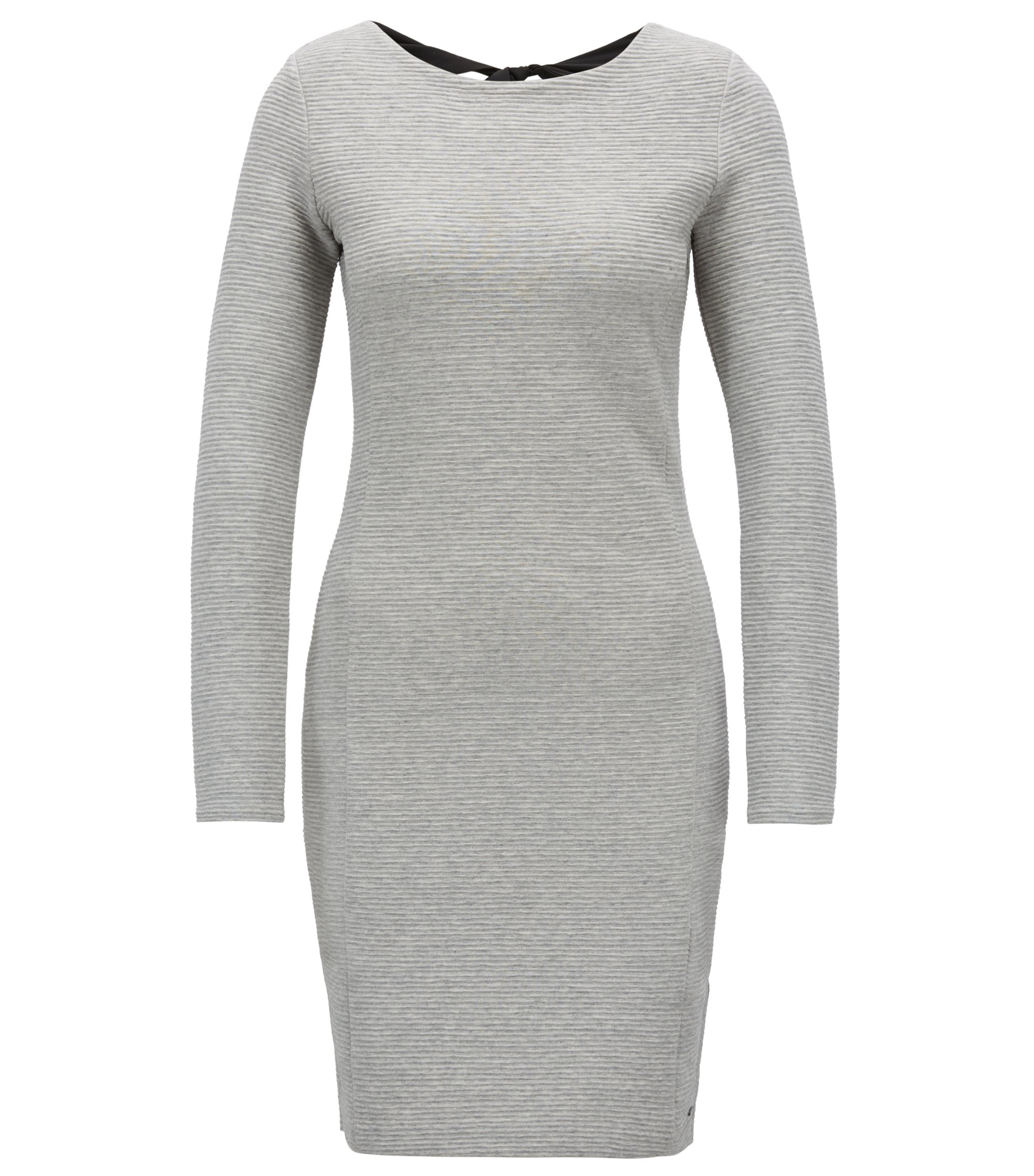 Bodycon dress in ottoman jersey with bow-detail back, Silver