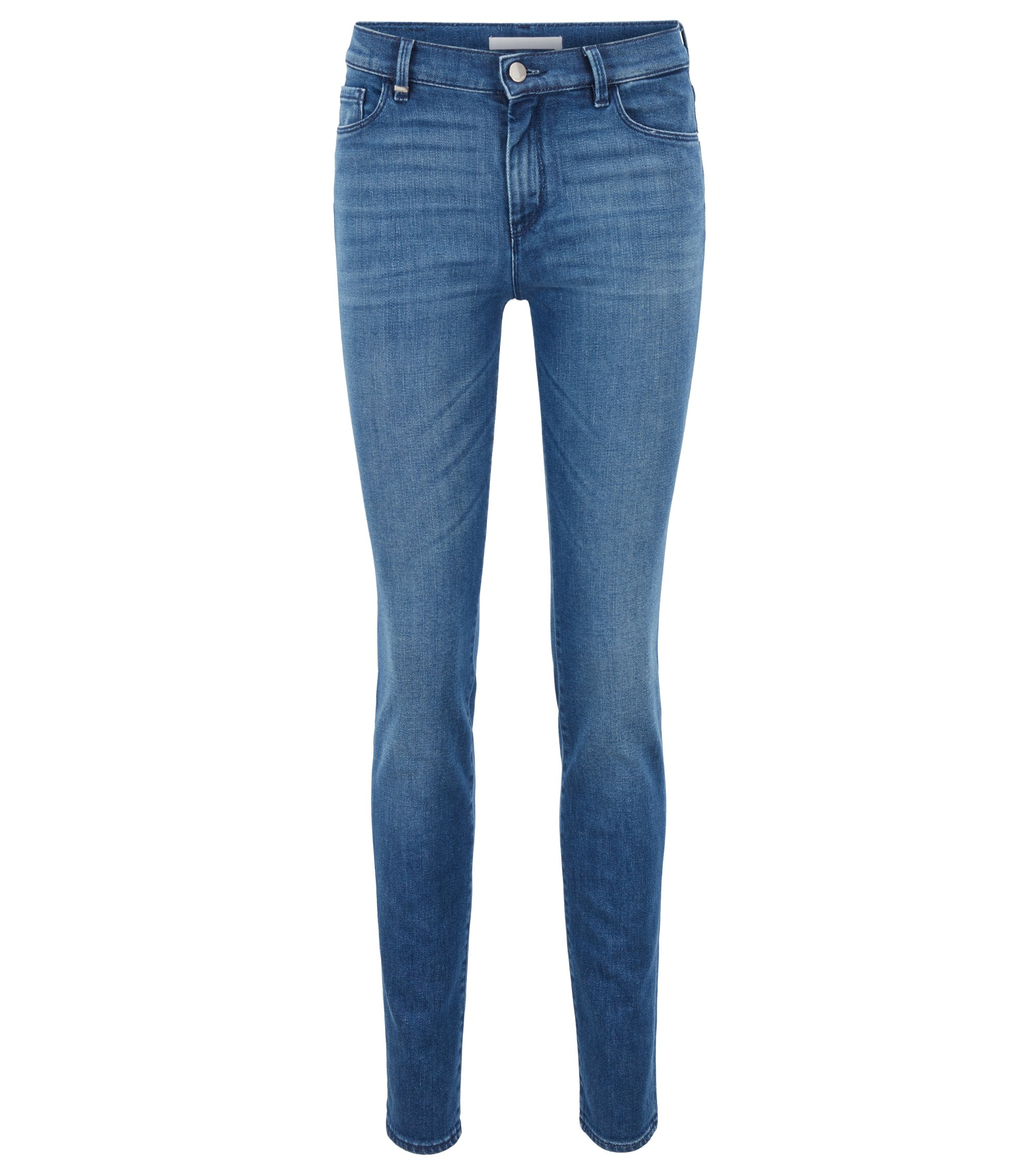 Jean Slim Fit en denim stretch confortable bleu moyen, Bleu