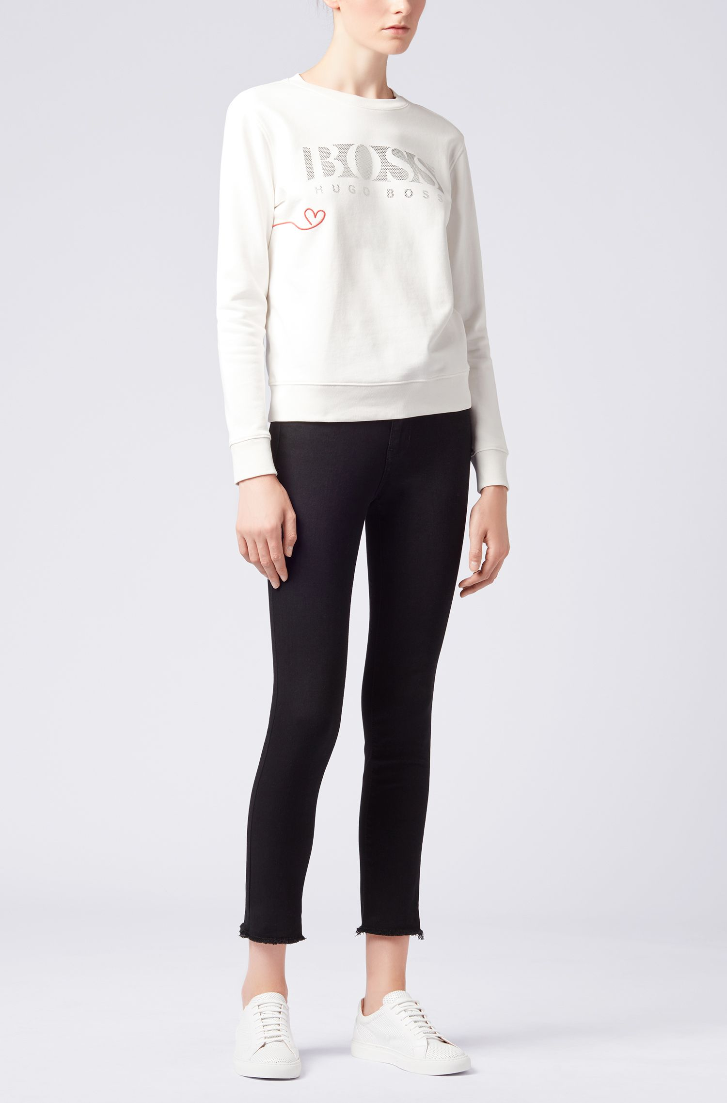 French-terry sweater with three-dimensional metallic logo, Natural