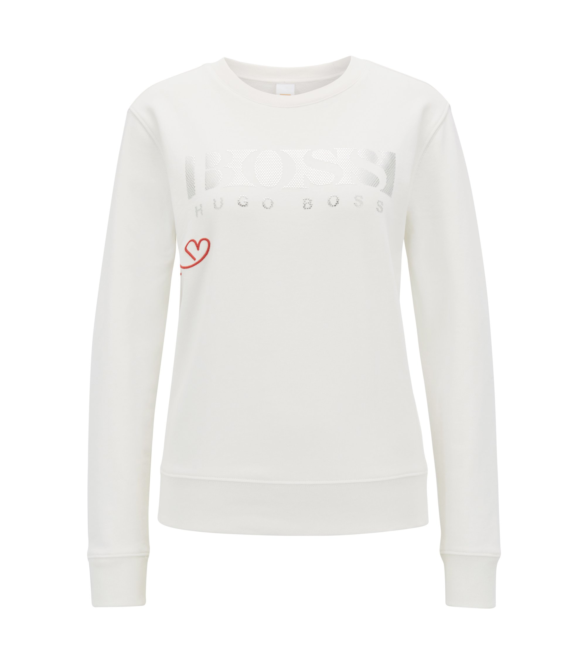 Pullover aus French Terry mit 3D-Logo in Metallic-Optik, Natur
