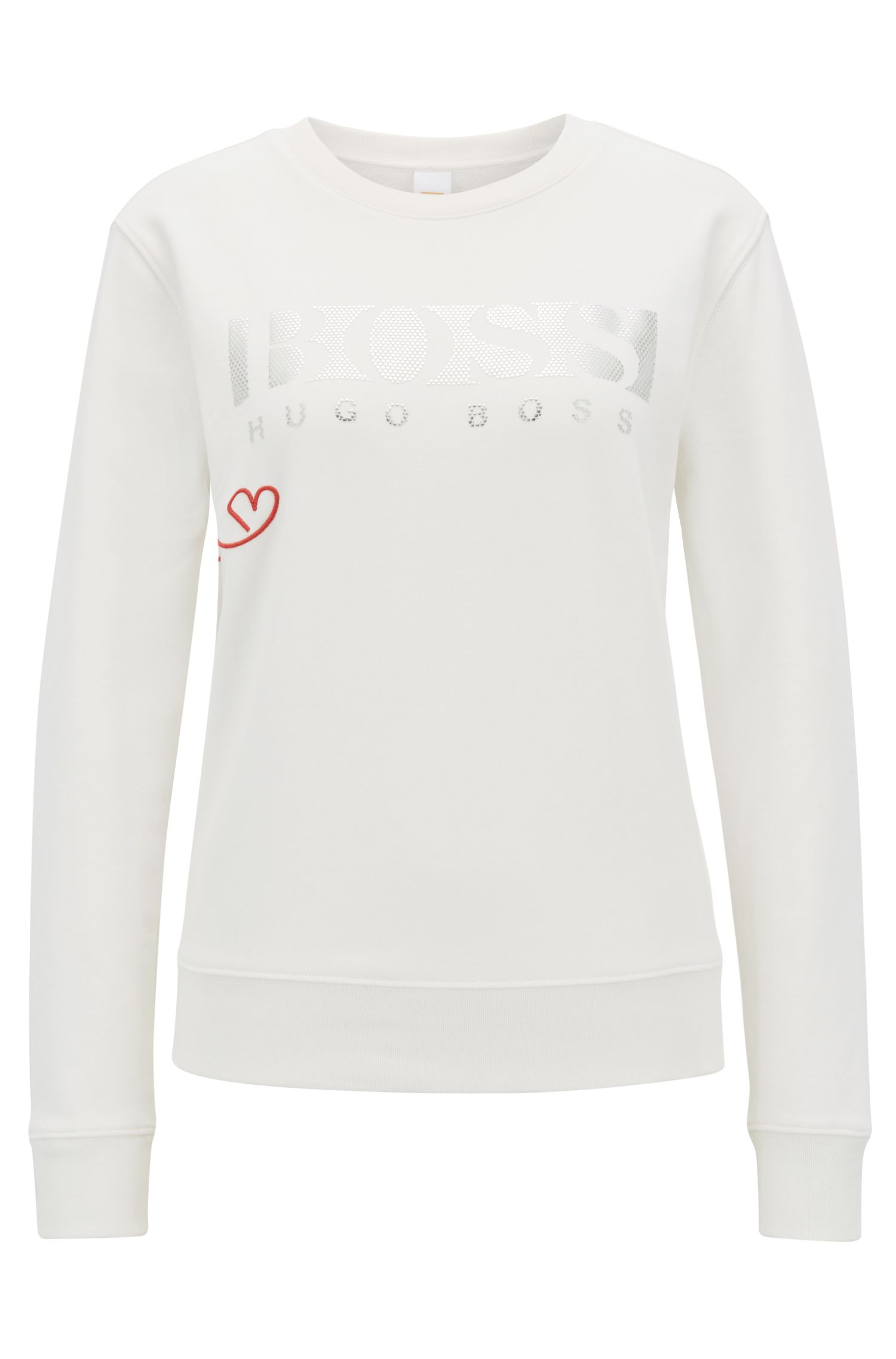 French-terry sweater with three-dimensional metallic logo