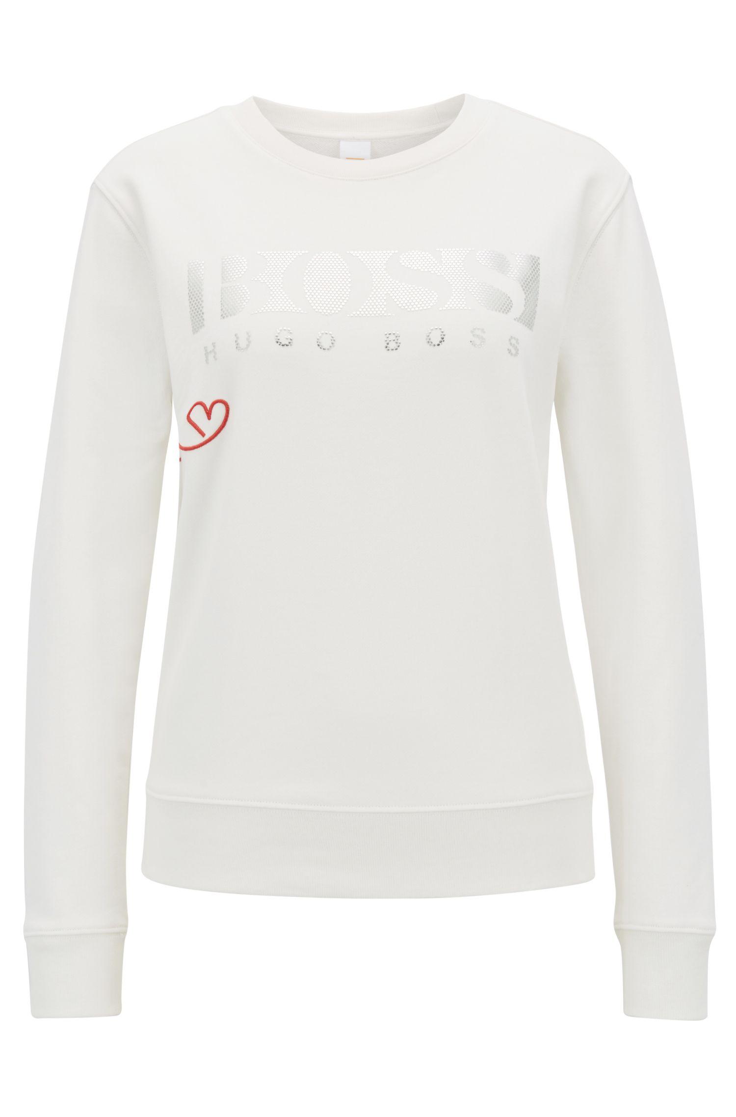 Pullover aus French Terry mit 3D-Logo in Metallic-Optik, Natur