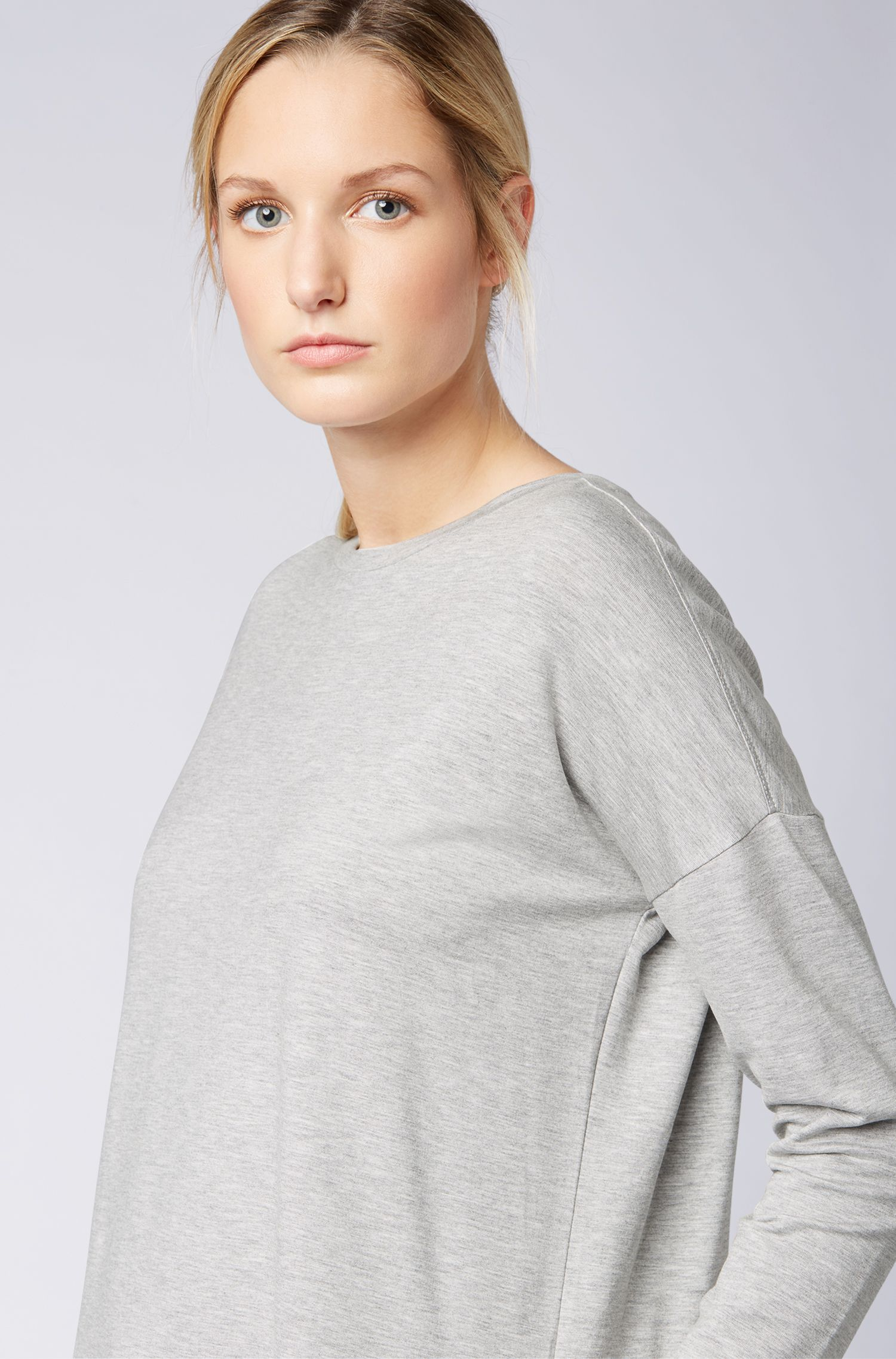 Boxy-fit top in lightweight stretch terry, Silver
