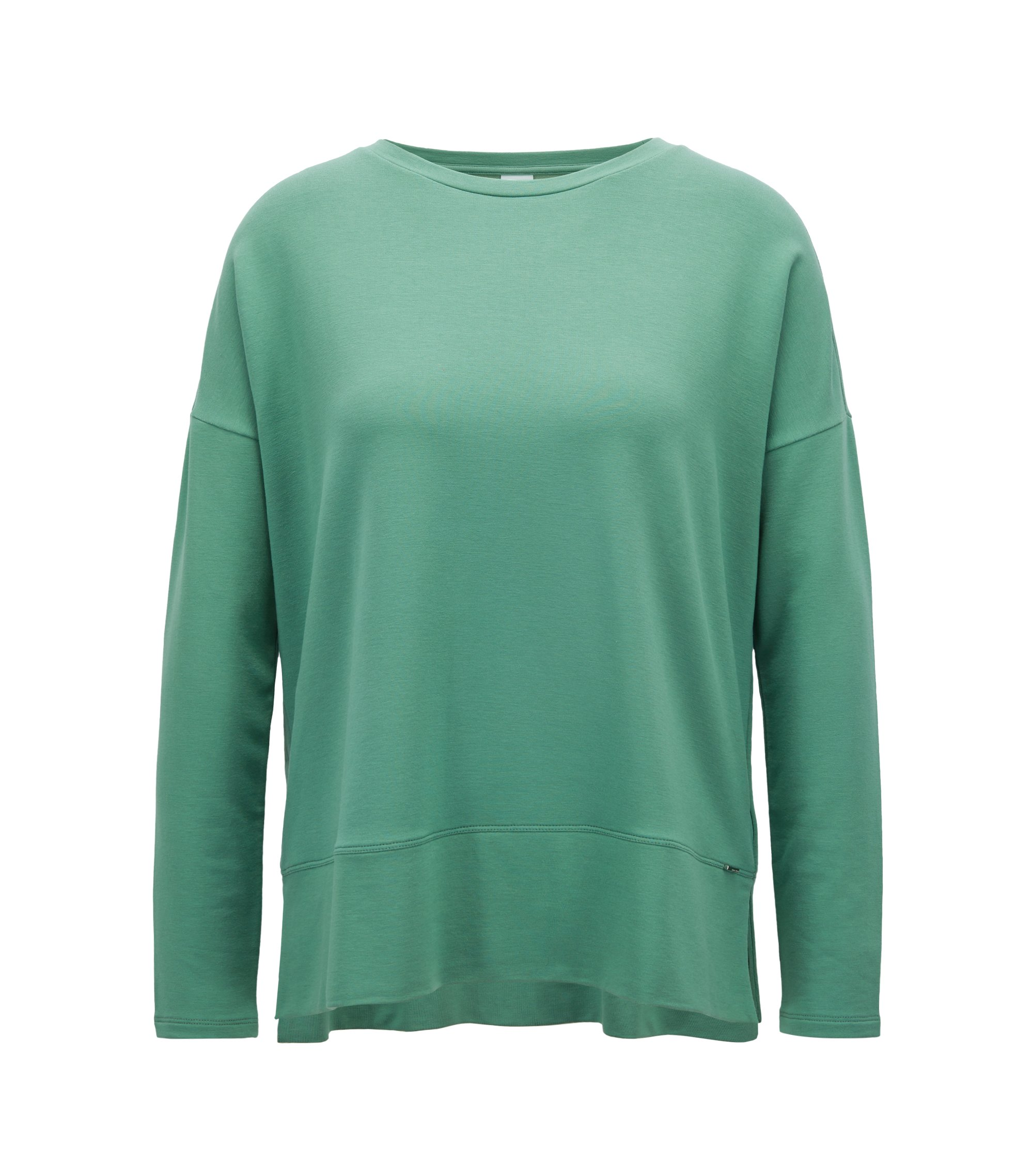 Boxy-fit top in lightweight stretch terry, Light Green