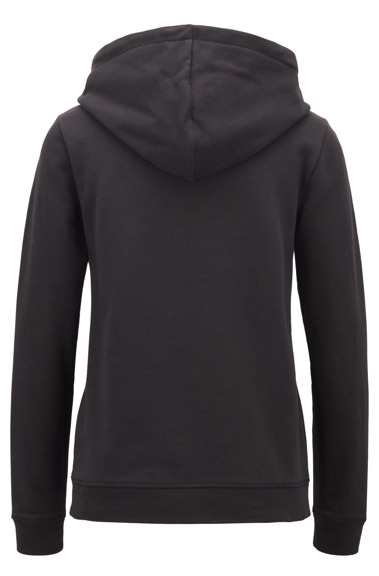 Sweater met capuchon van badstof met trekkoorden van bedrukt band, Zwart