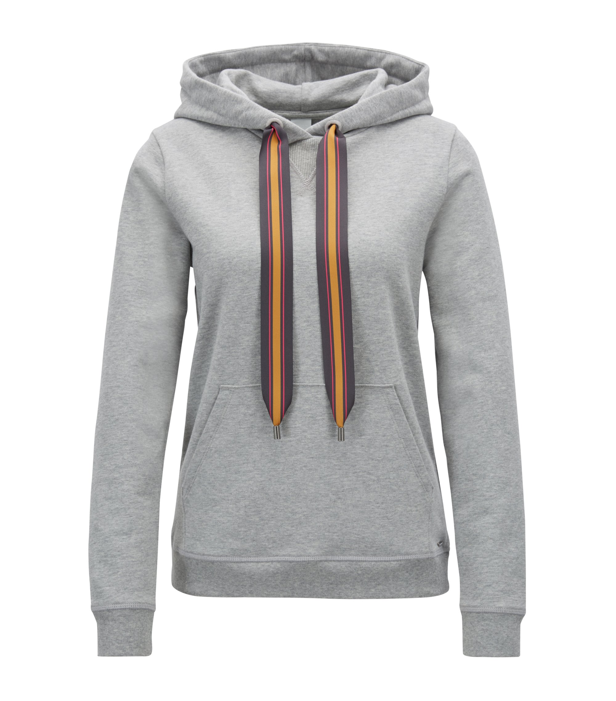 Hooded sweatshirt in French terry with printed drawstring tape, Silver