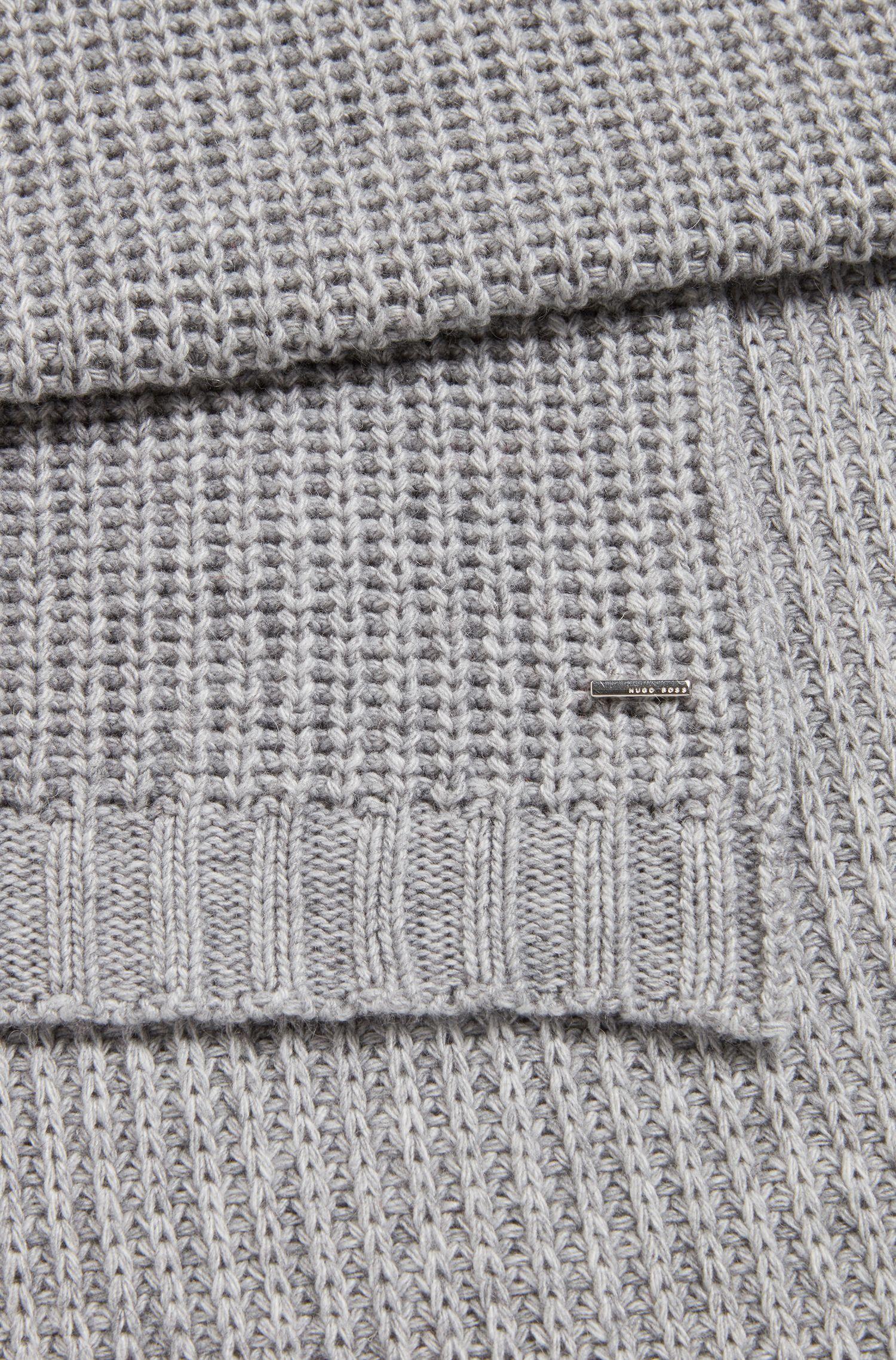 Bufanda de punto grueso en mezcla de hilos con cashmere, Plata