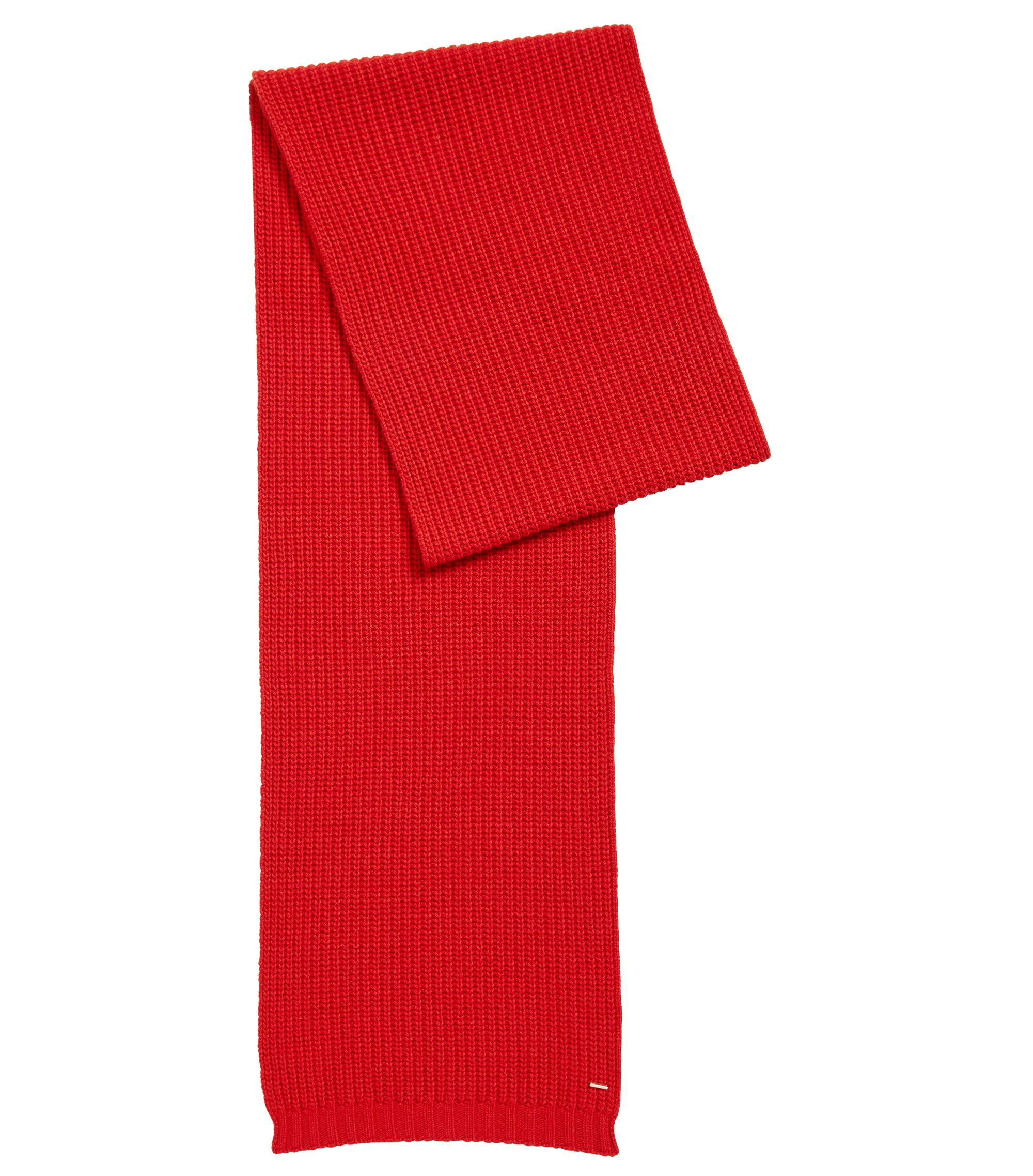 Chunky-knit scarf in a blended yarn with cashmere, Red