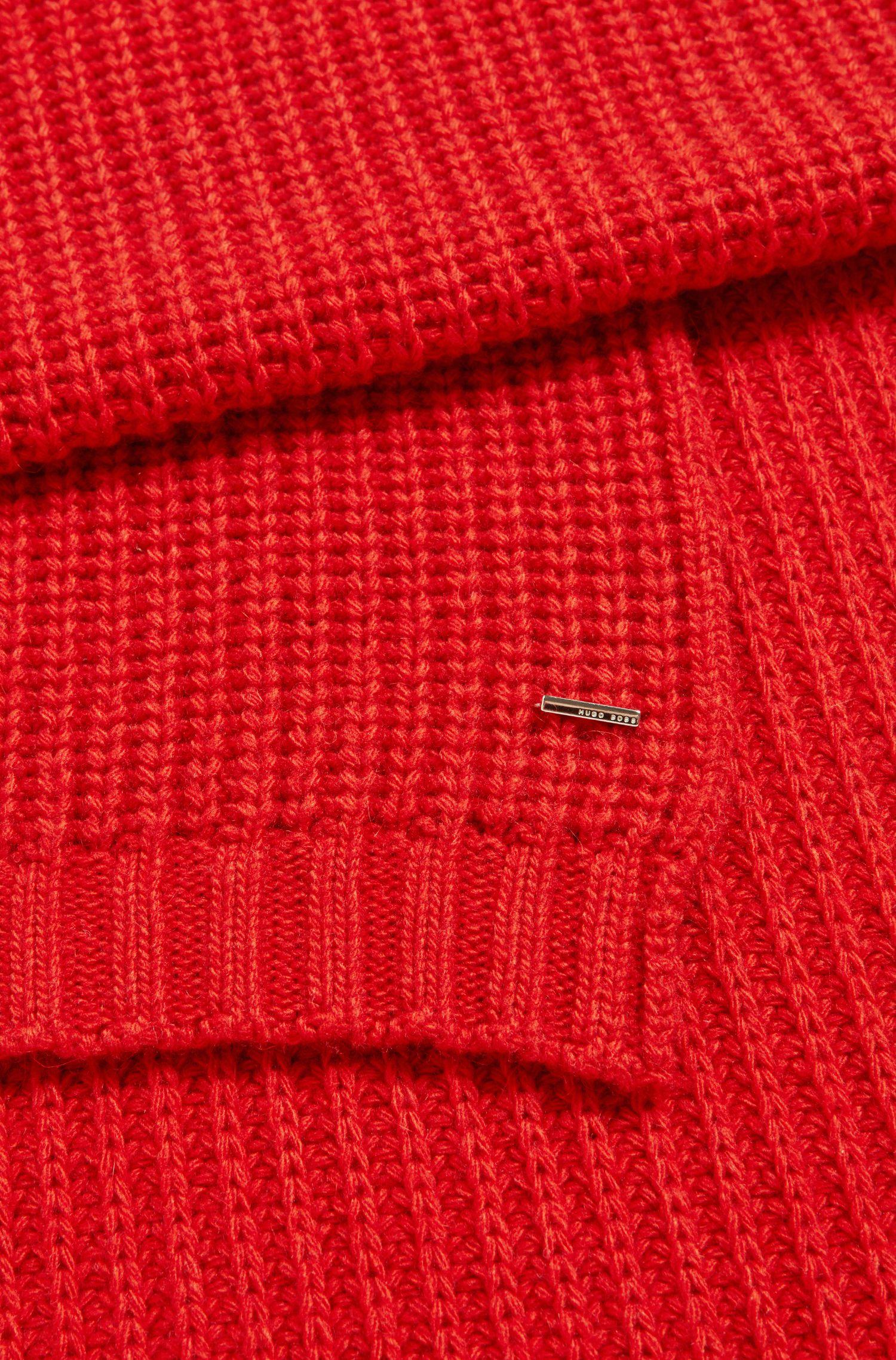 Grobstrick-Schal aus Material-Mix mit Kaschmir, Rot