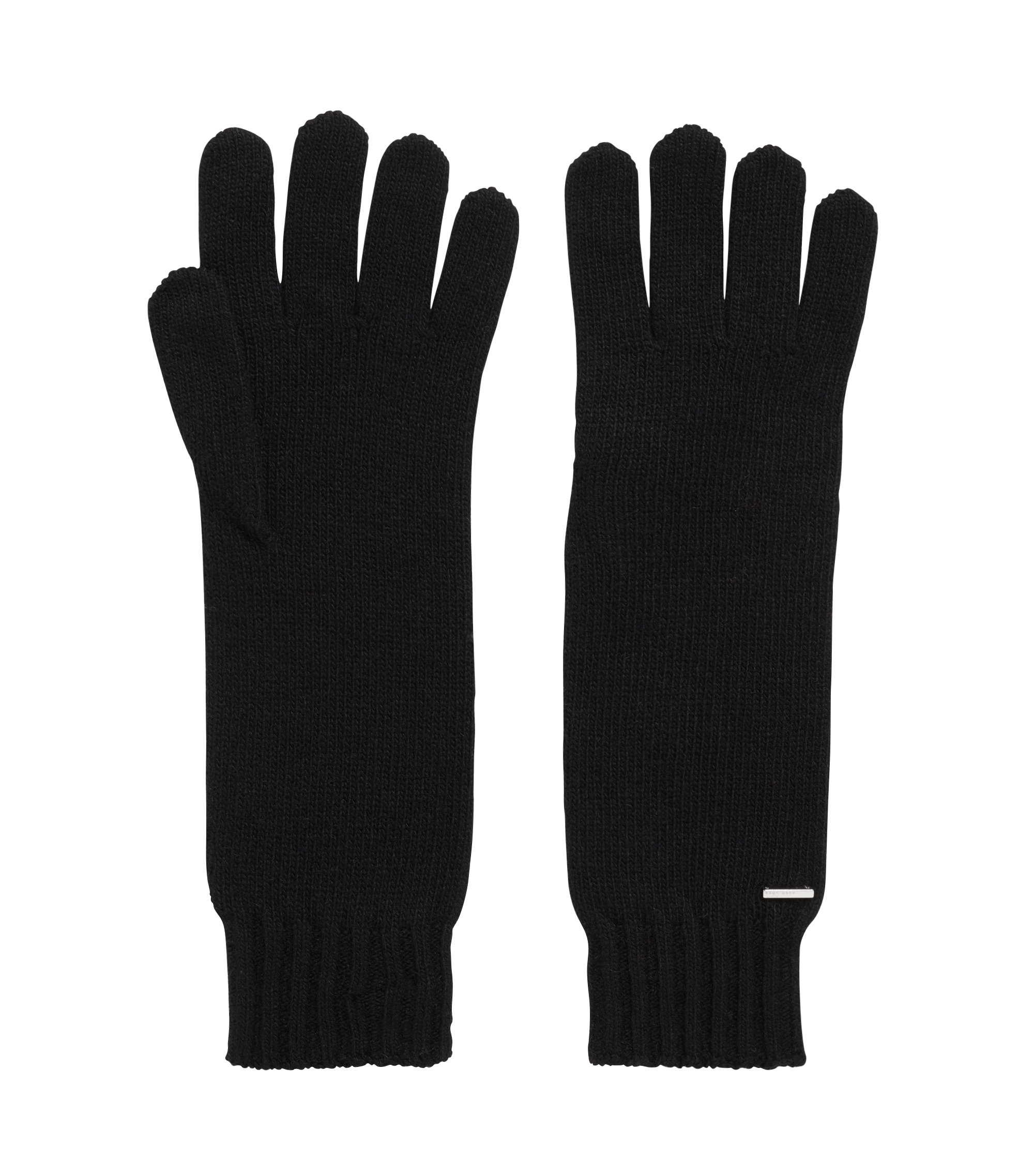 Longline gloves with metallic logo badge, Black