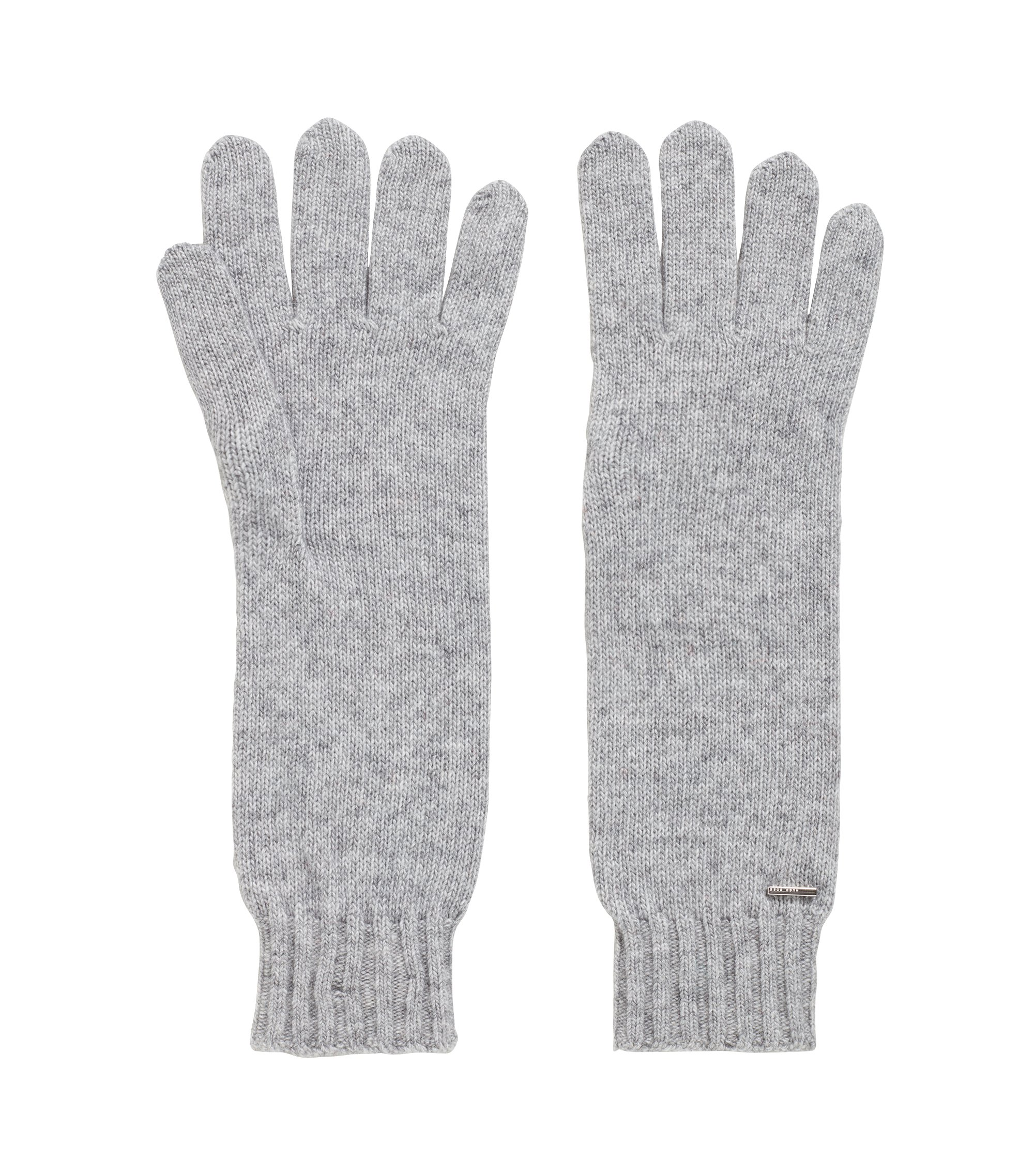 Longline gloves with metallic logo badge, Silver