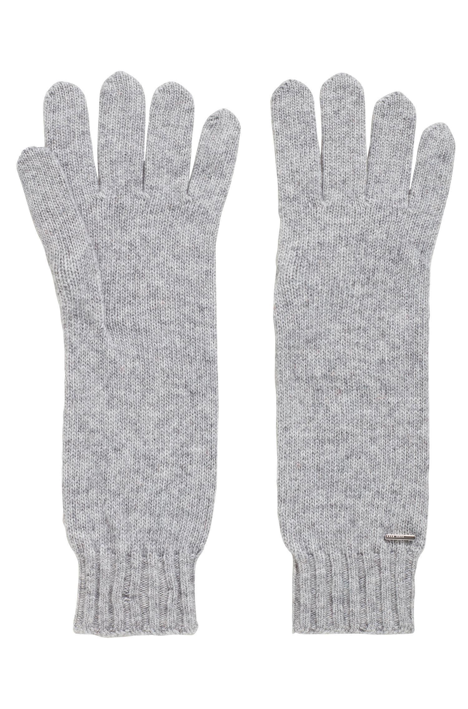 Lange handschoenen met metallic logopatch, Zilver