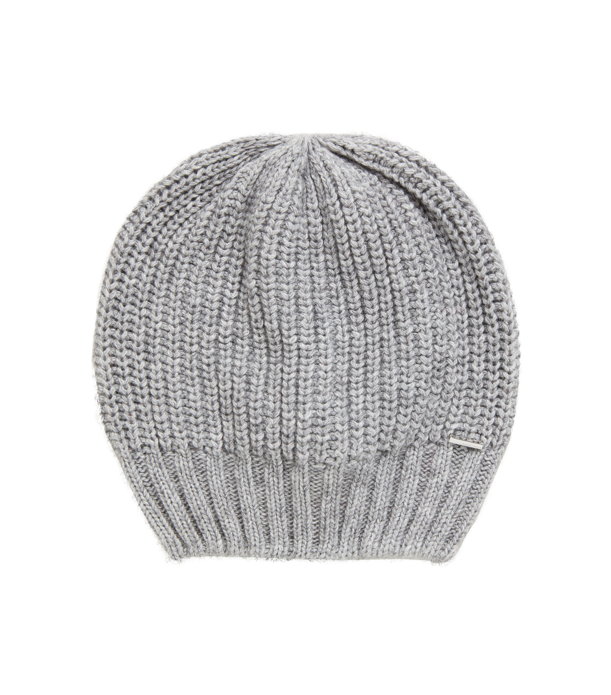 Chunky-knit beanie hat in blended yarns with cashmere, Silver