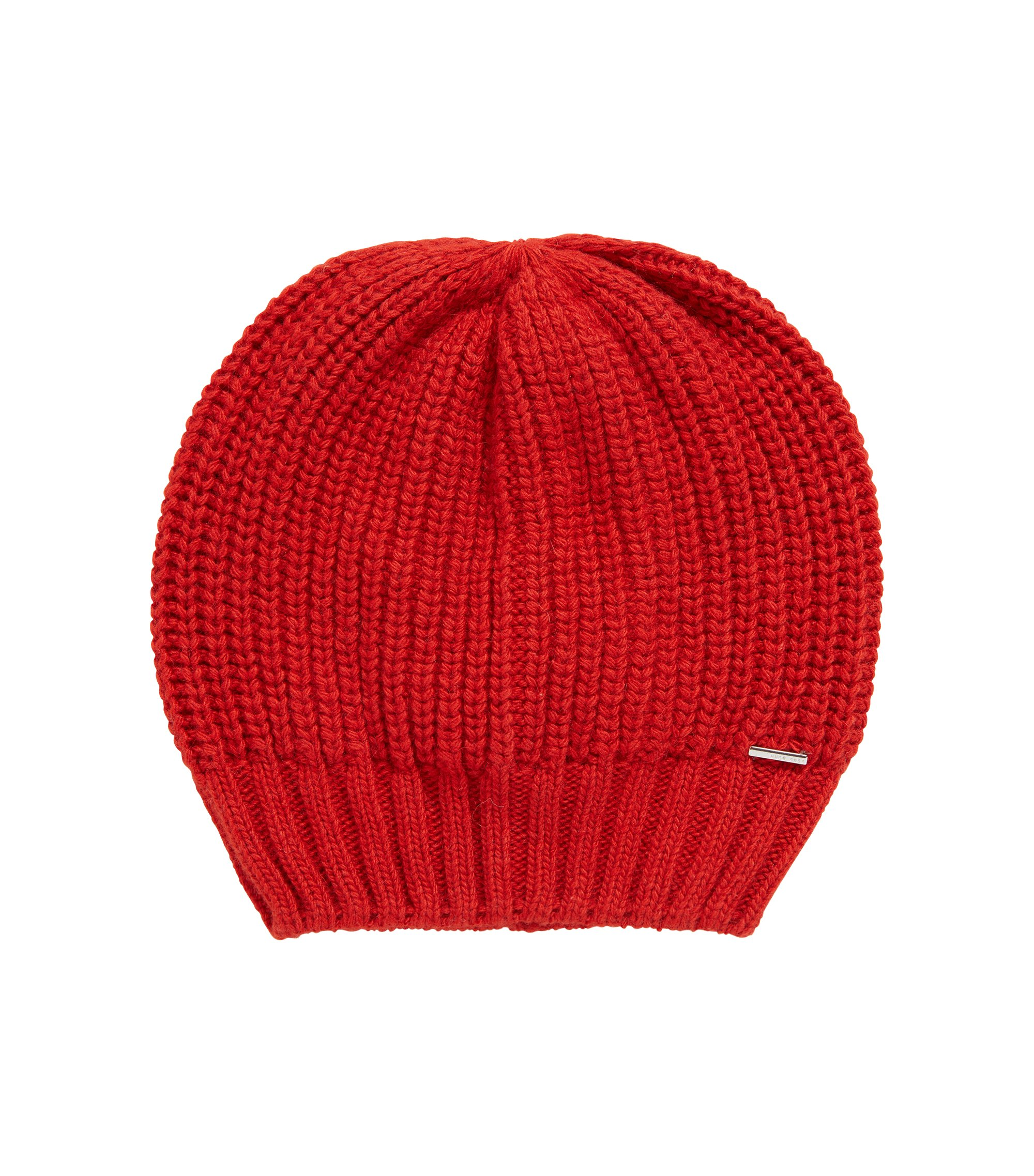 Chunky-knit beanie hat in blended yarns with cashmere, Red