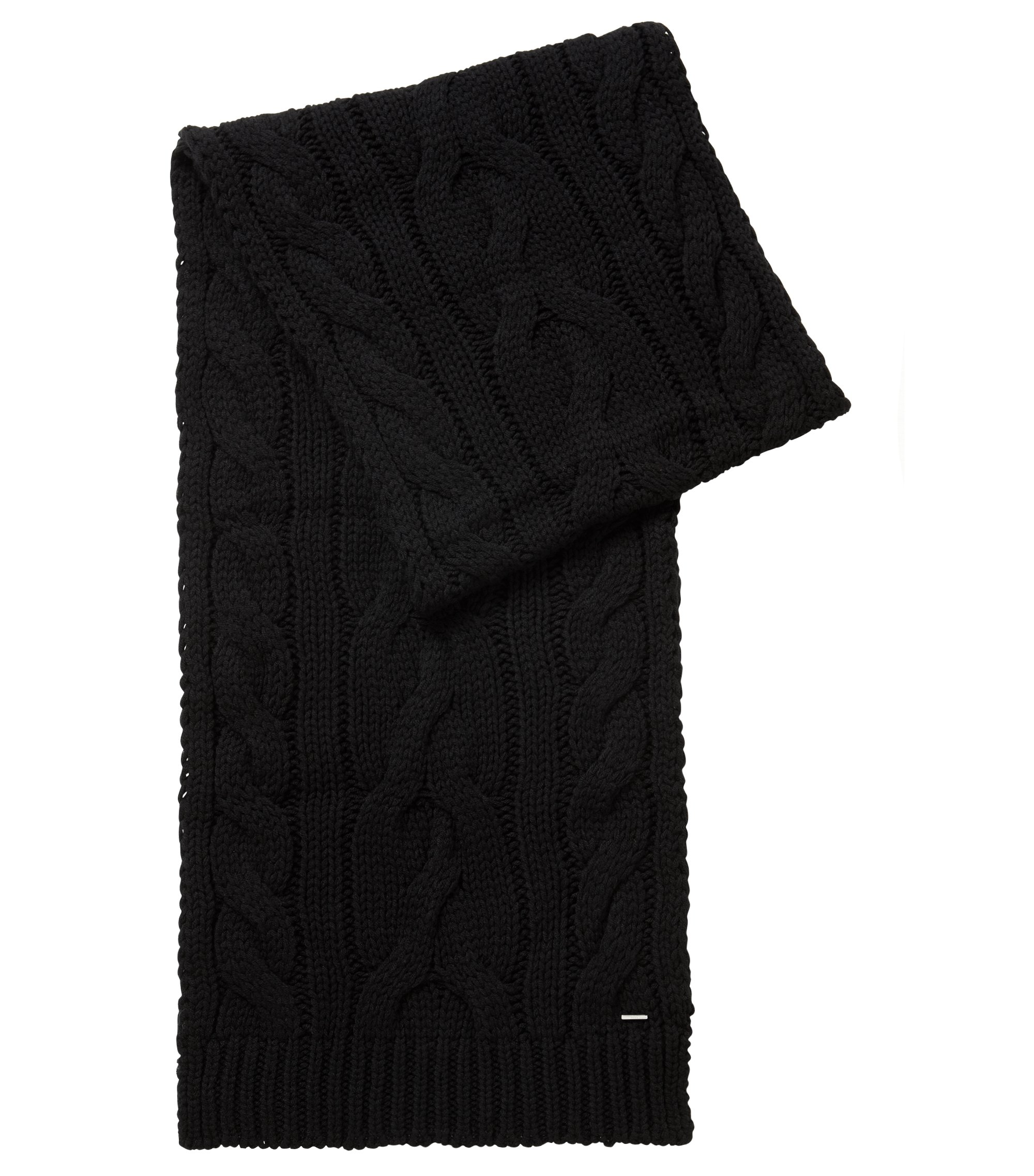 Cable-knit scarf in a wool blend, Black