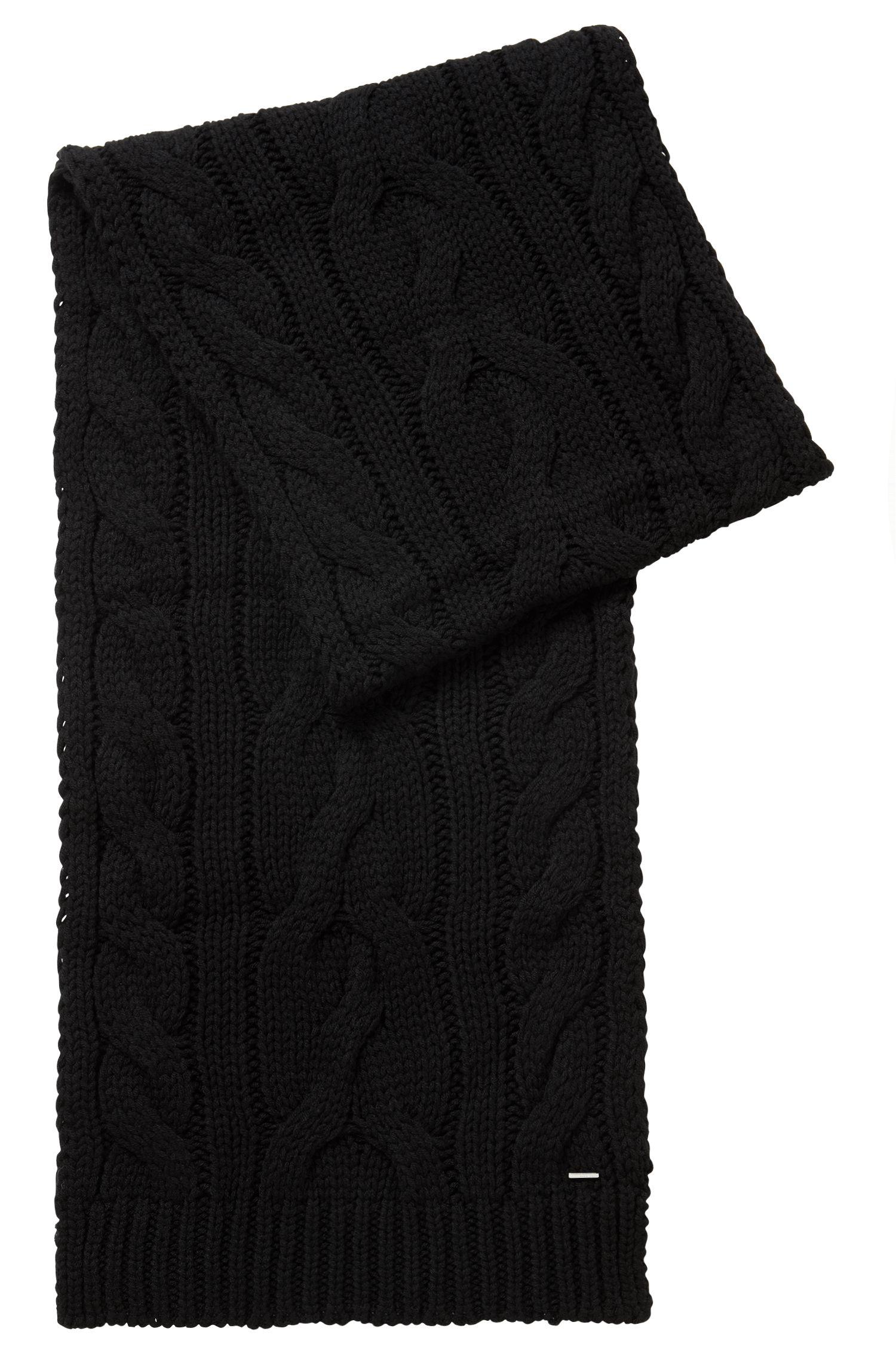 Schal mit Zopfmuster aus Woll-Mix, Schwarz