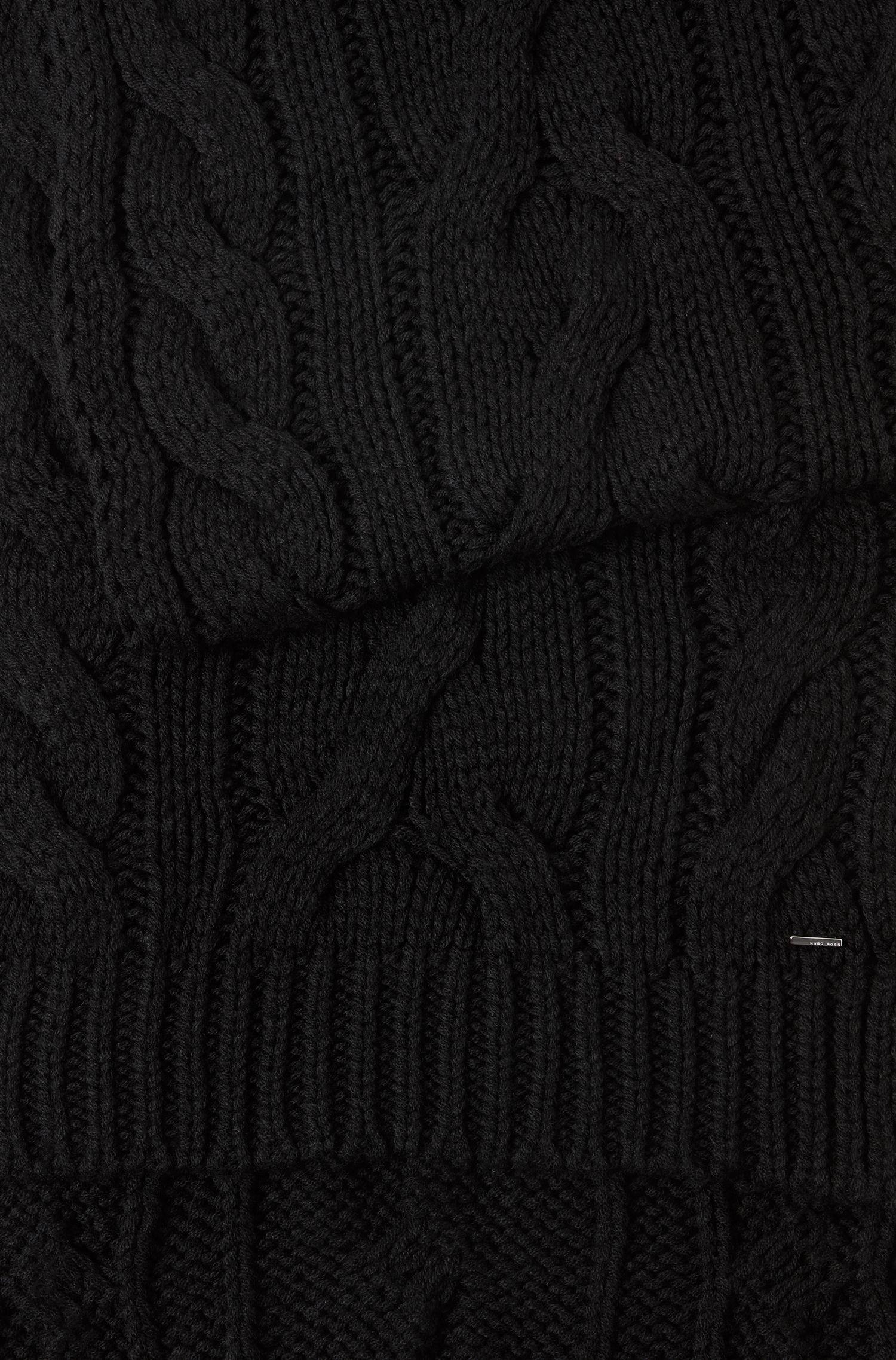Sjaal van een wolmix met kabelpatroon, Zwart