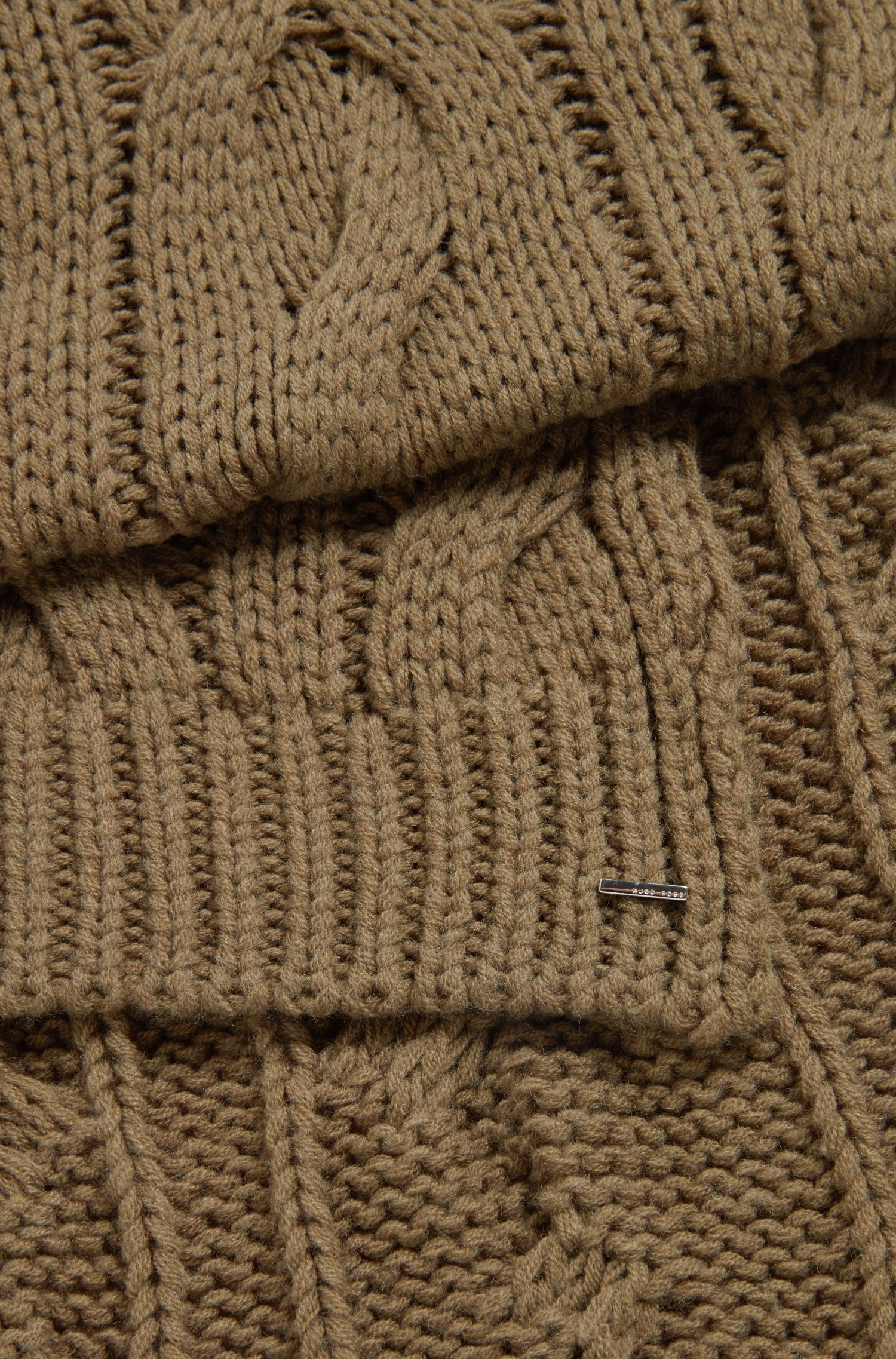 Cable-knit scarf in a wool blend, Khaki