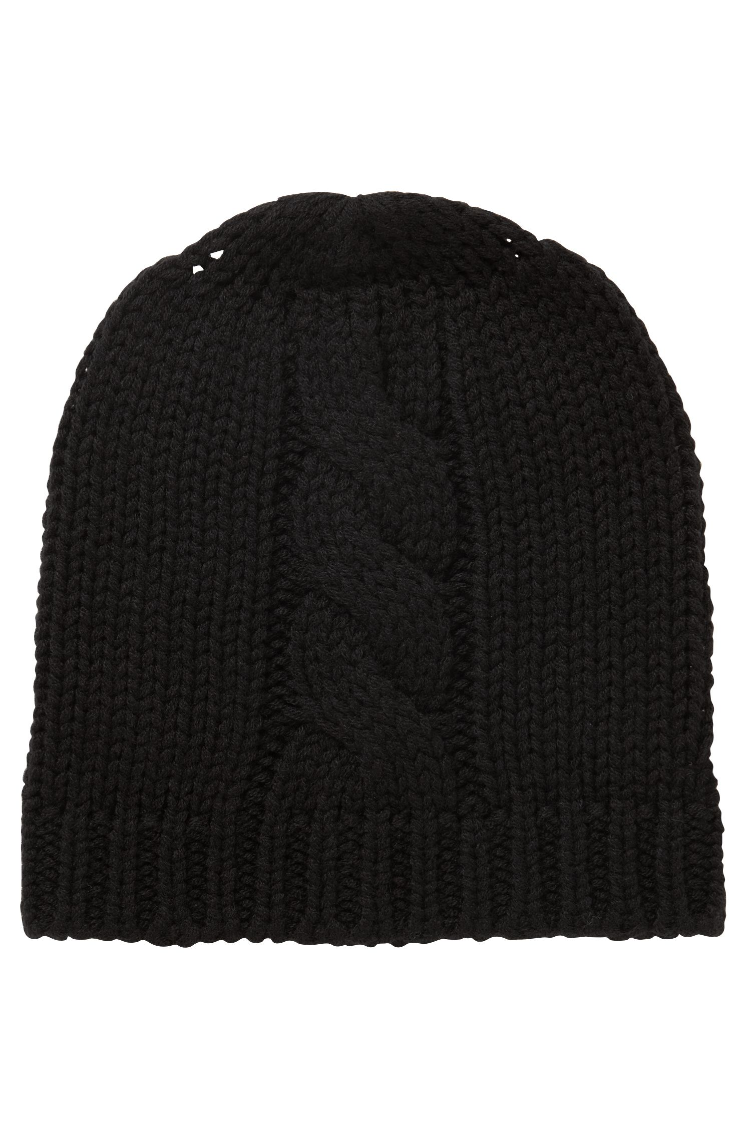 Beanie hat in a wool blend with cable structure, Black