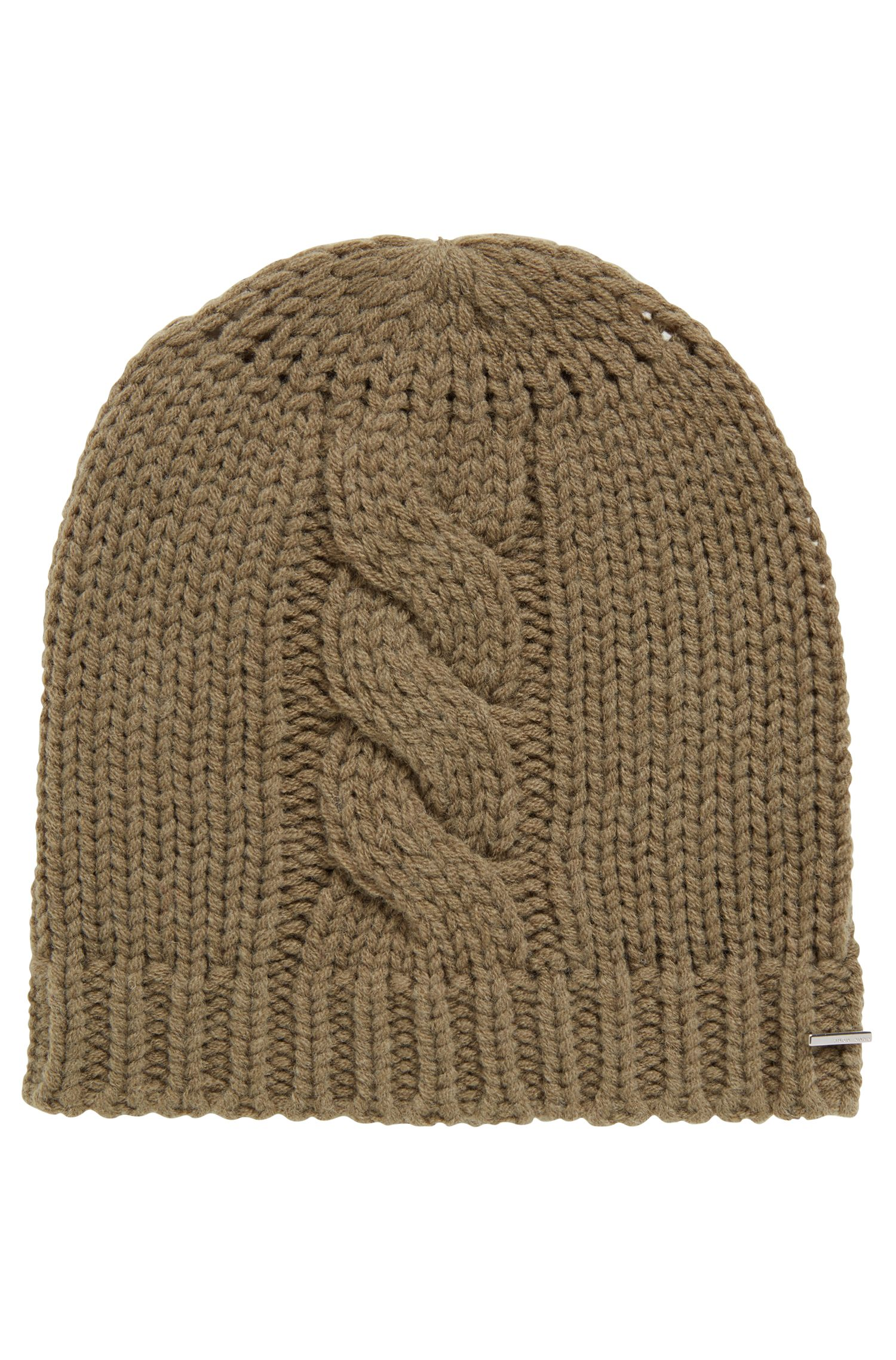 Beanie hat in a wool blend with cable structure, Khaki