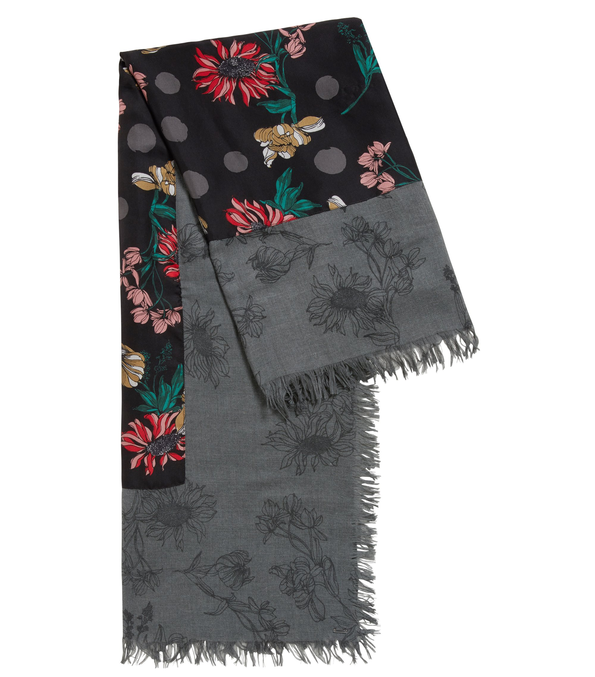Floral-print scarf with silk border, Patterned