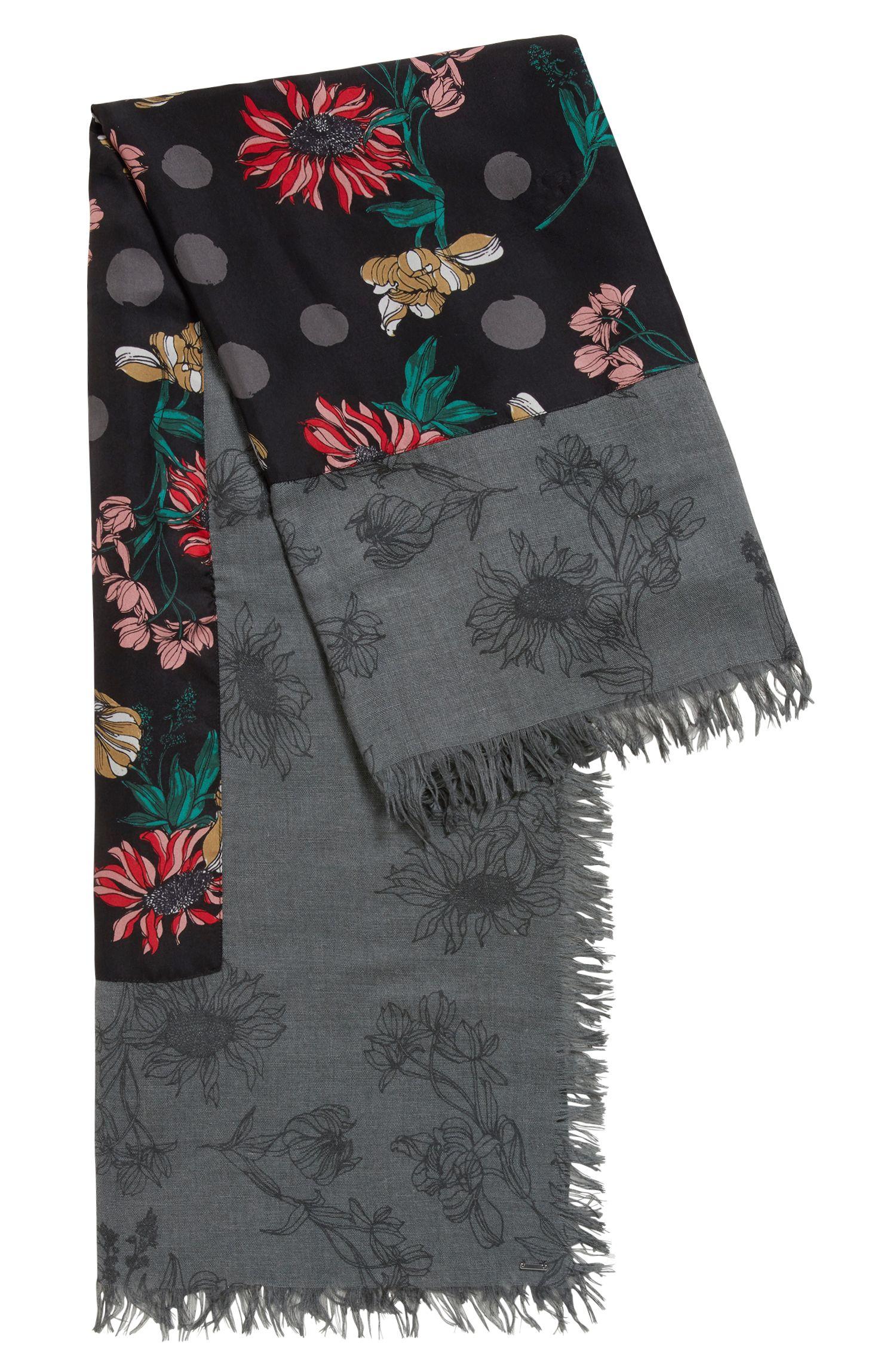 Bufanda de estampado de flores con borde de seda, Fantasía