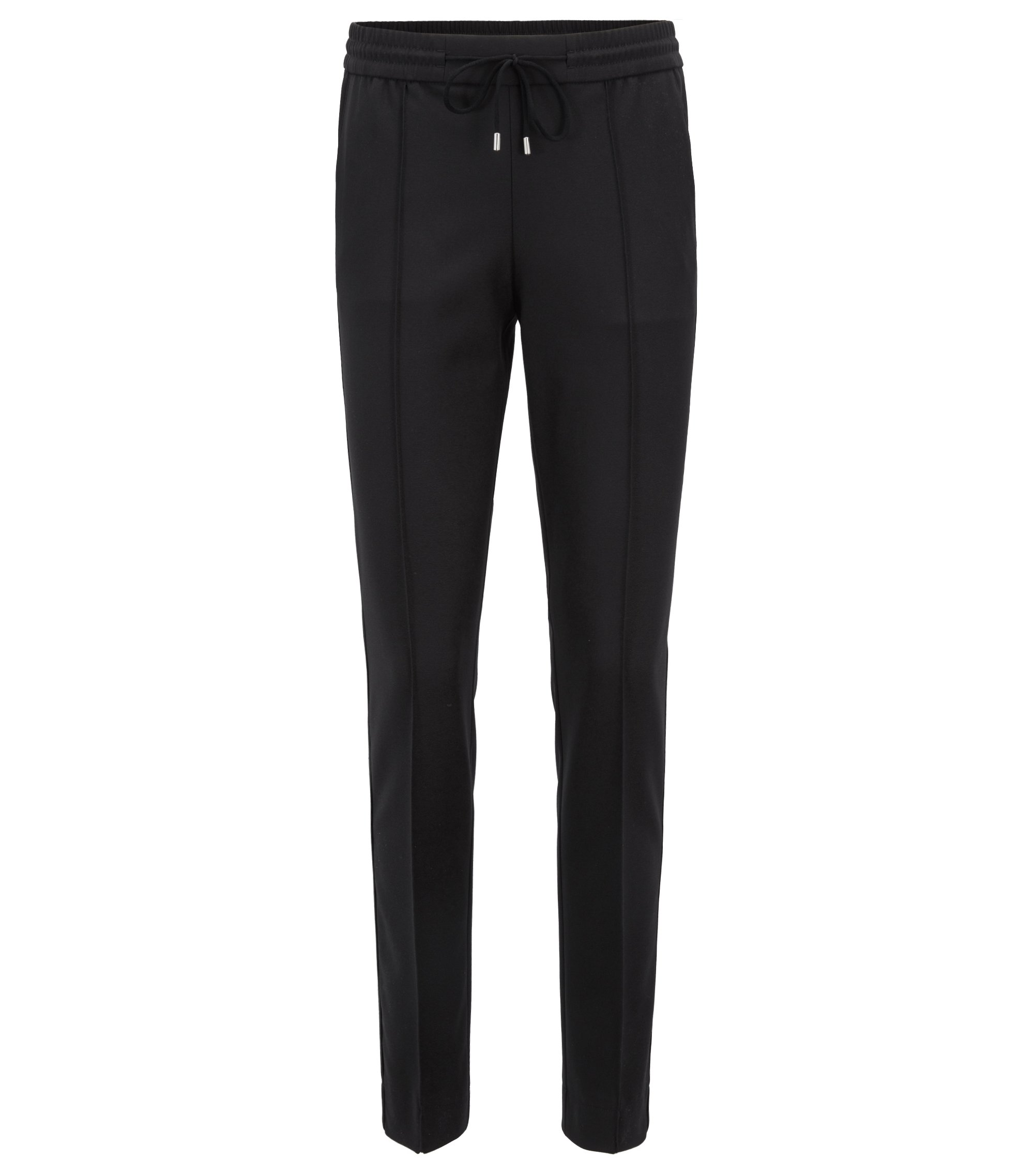Relaxed-fit trousers in stretch crepe with drawstring waist, Black