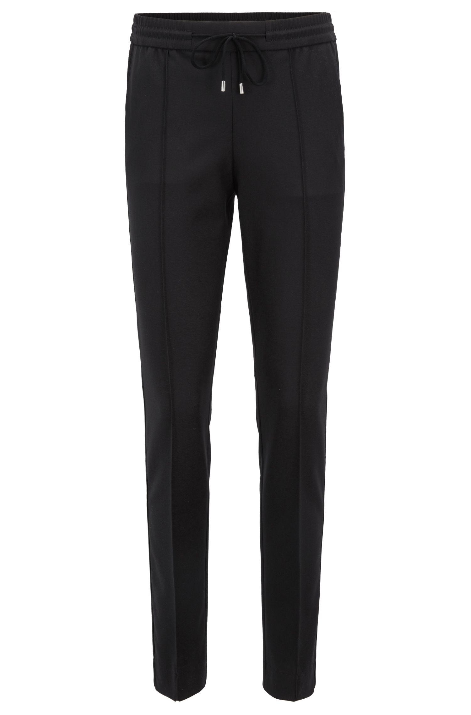 Relaxed-Fit Hose aus elastischem Krepp mit Tunnelzug an der Taille, Schwarz